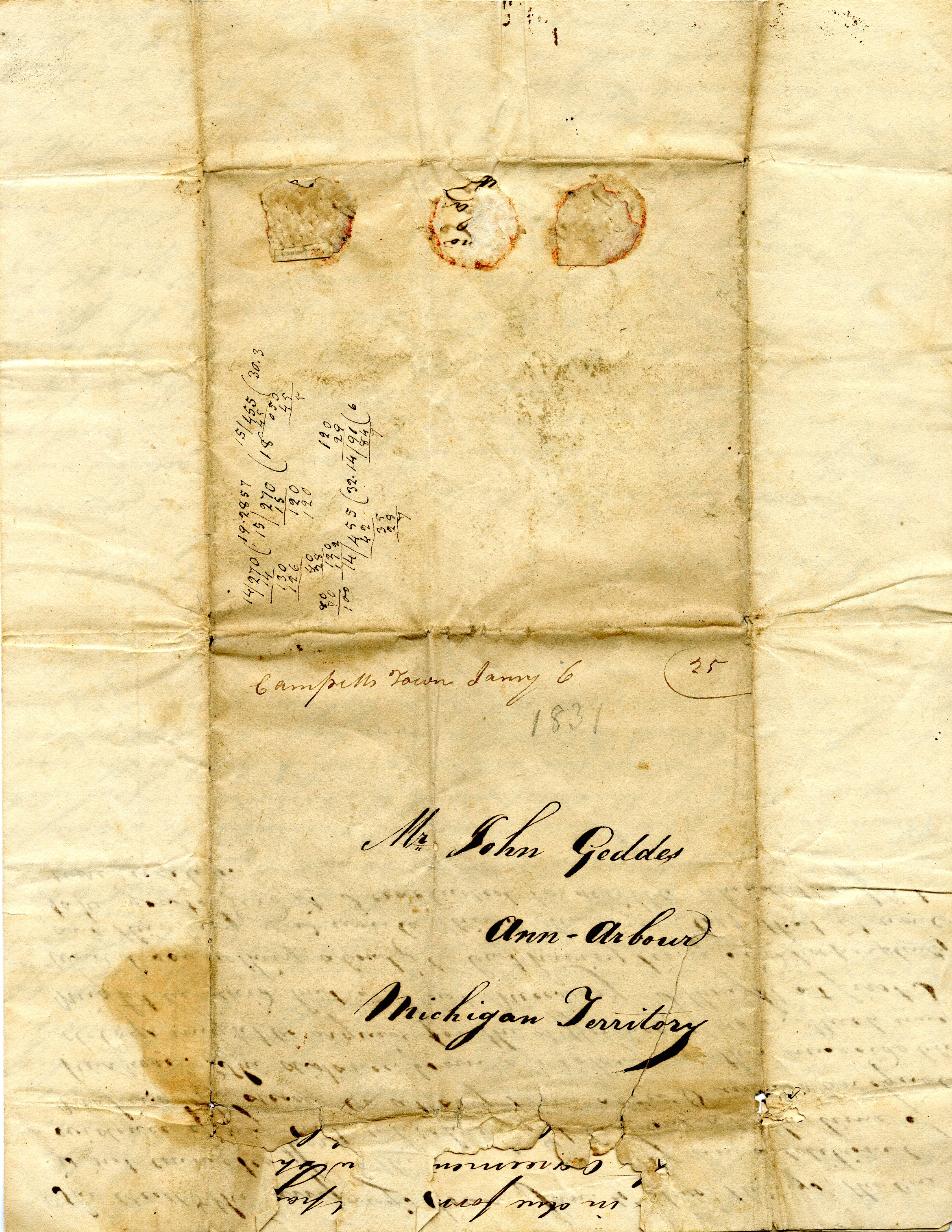 Letter From William Geddes to John Geddes, January 4, 1831 image