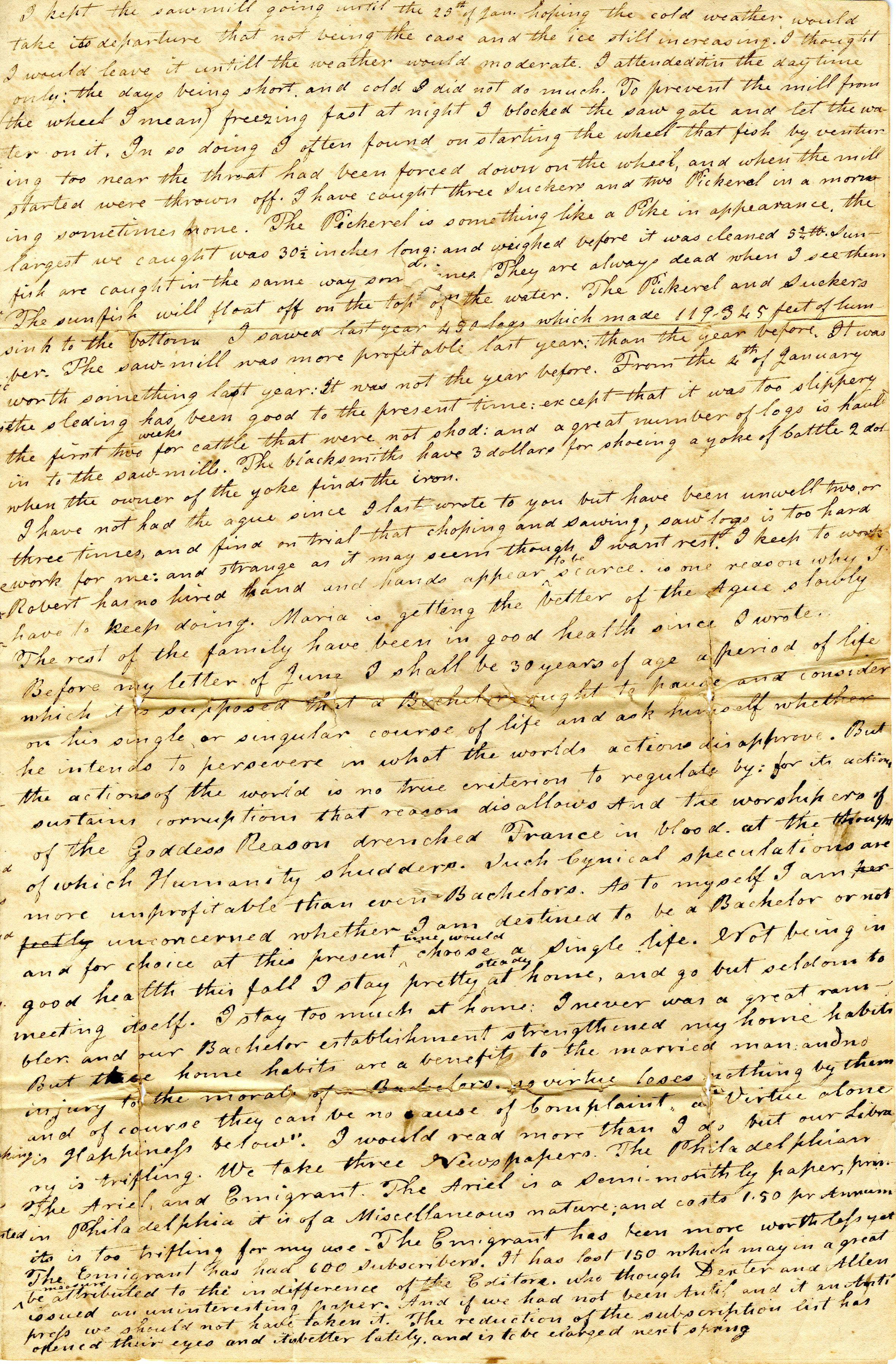 Letter From John Geddes to William Geddes, January 31, 1831 image