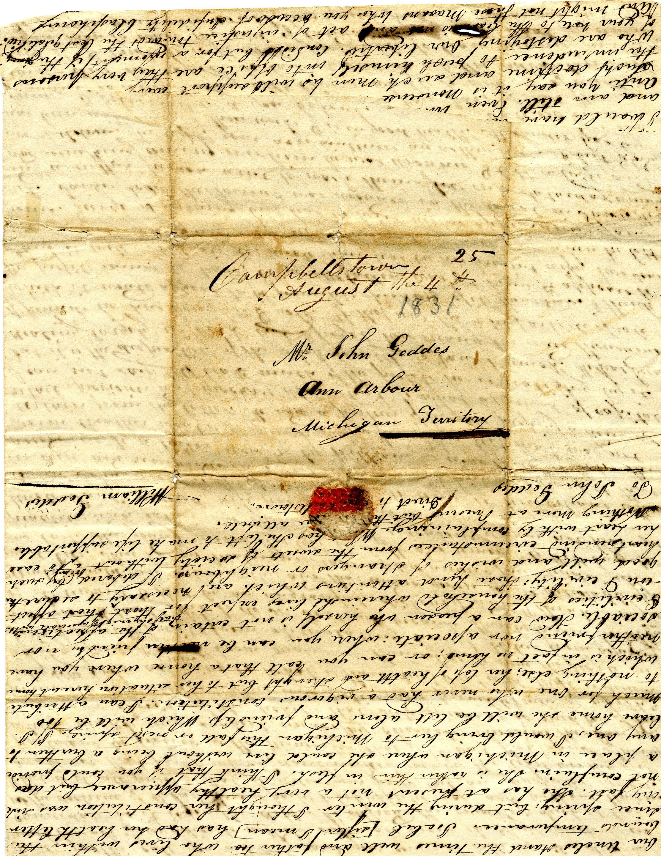 Letter From William Geddes to John Geddes, August 4, 1831 image