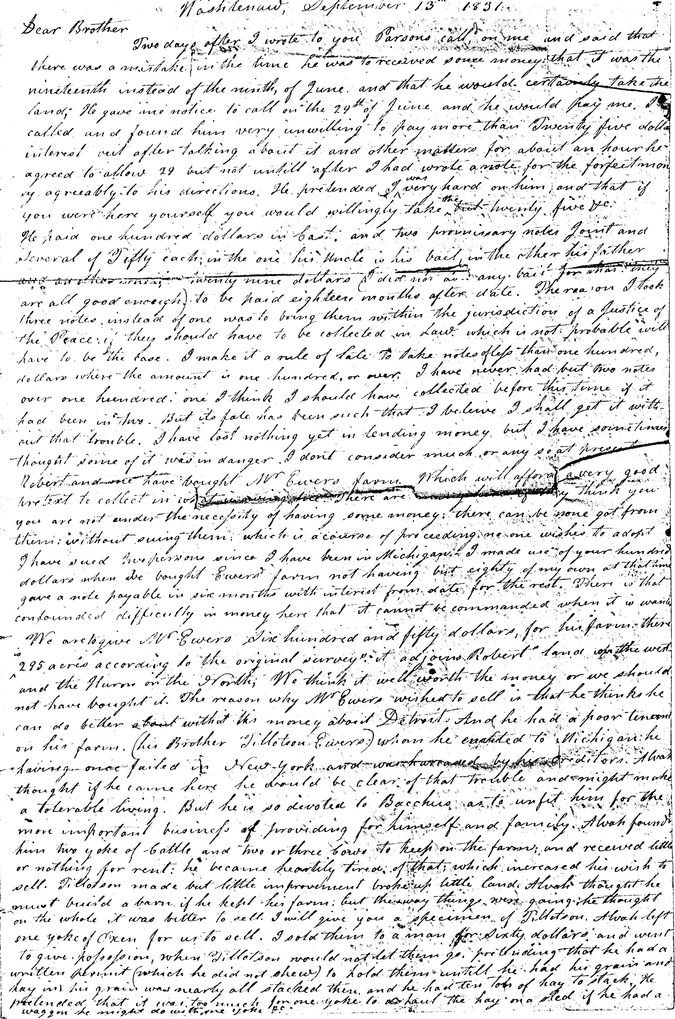 Letter From John Geddes to William Geddes, September 13, 1831 image