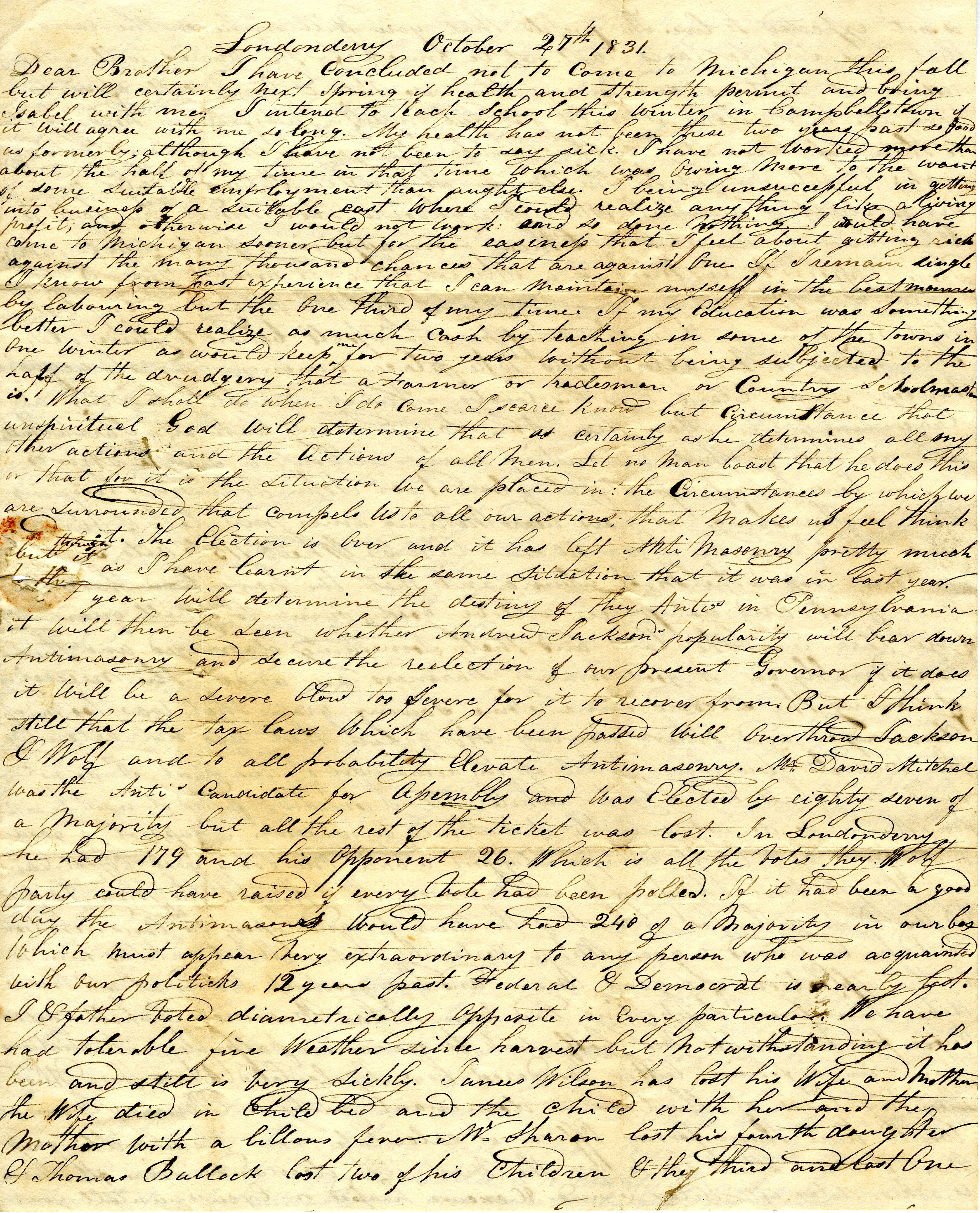 Letter From William Geddes to John Geddes, October 27, 1831 image