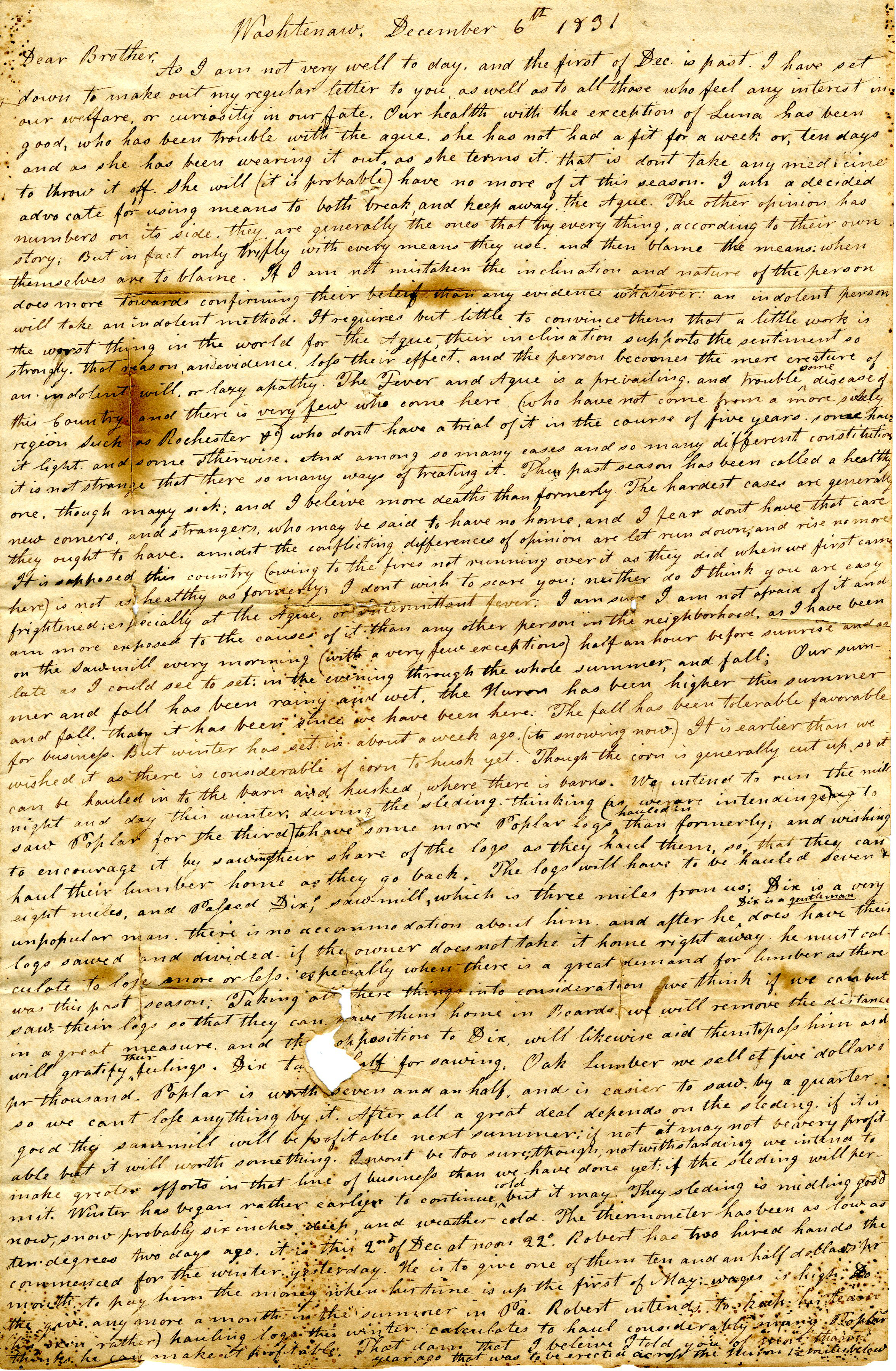 Letter From John Geddes to William Geddes, December 6, 1831 image