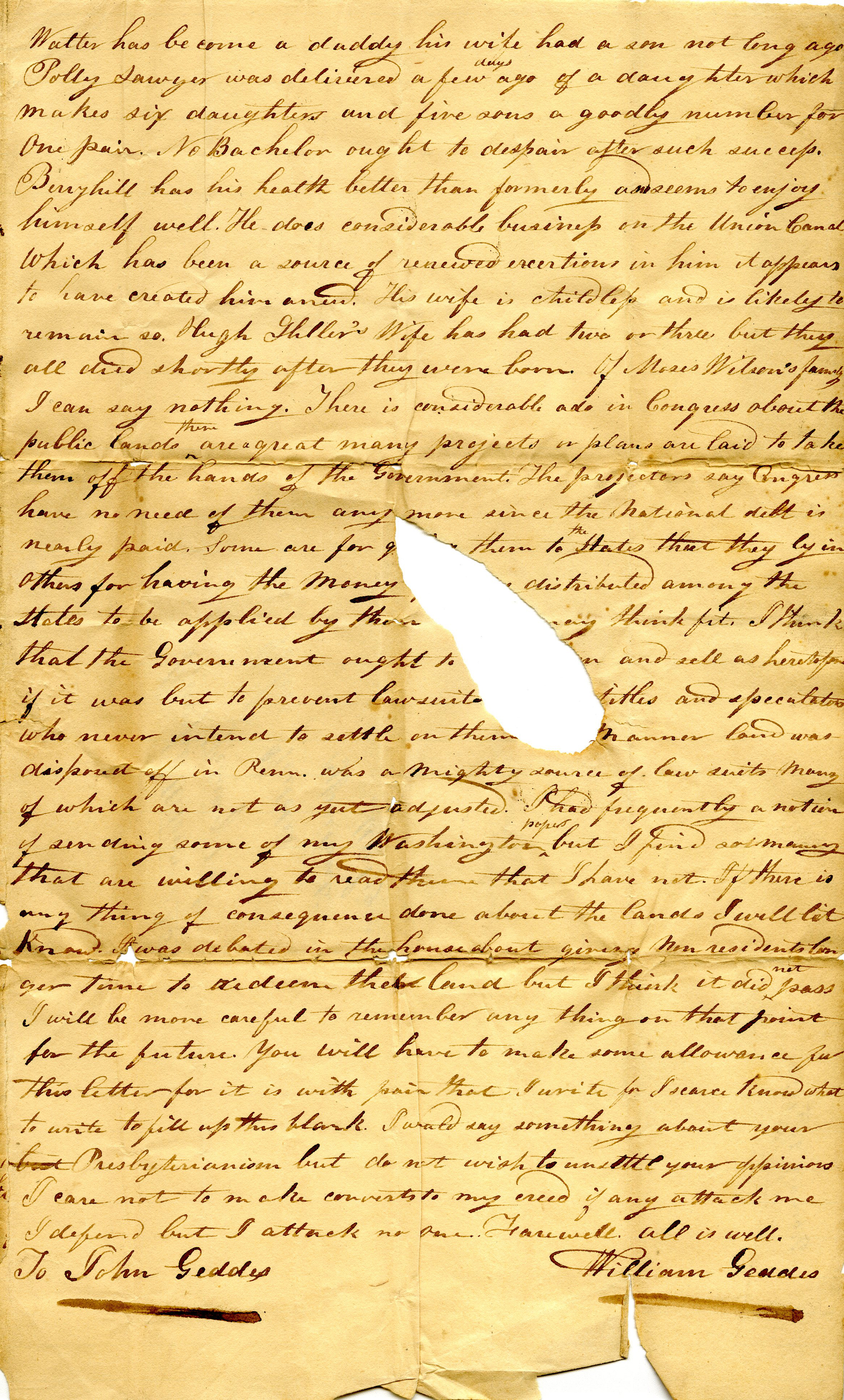 Letter From William Geddes to John Geddes, January 31, 1832 image