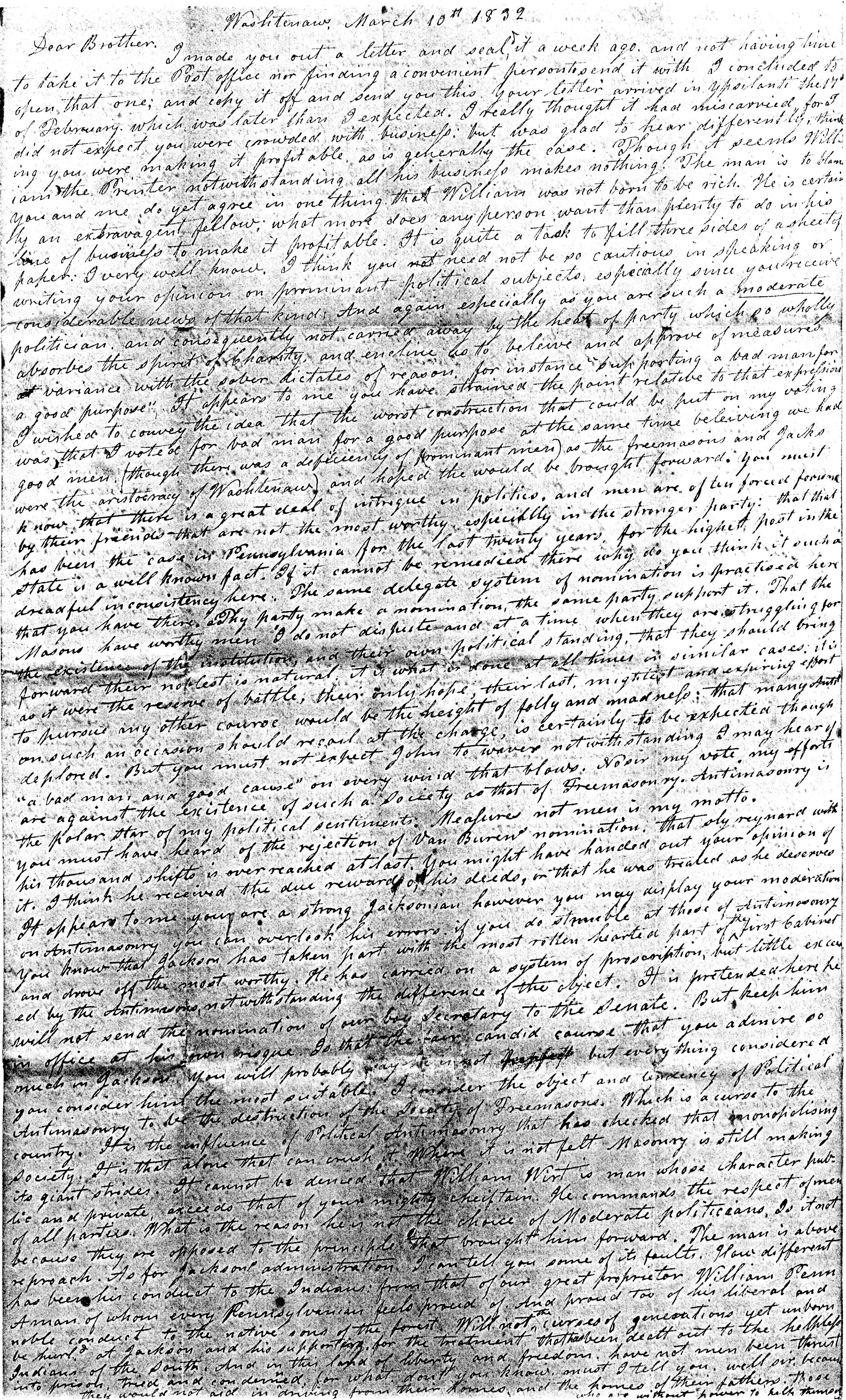 Letter From John Geddes to William Geddes, March 10, 1832 image