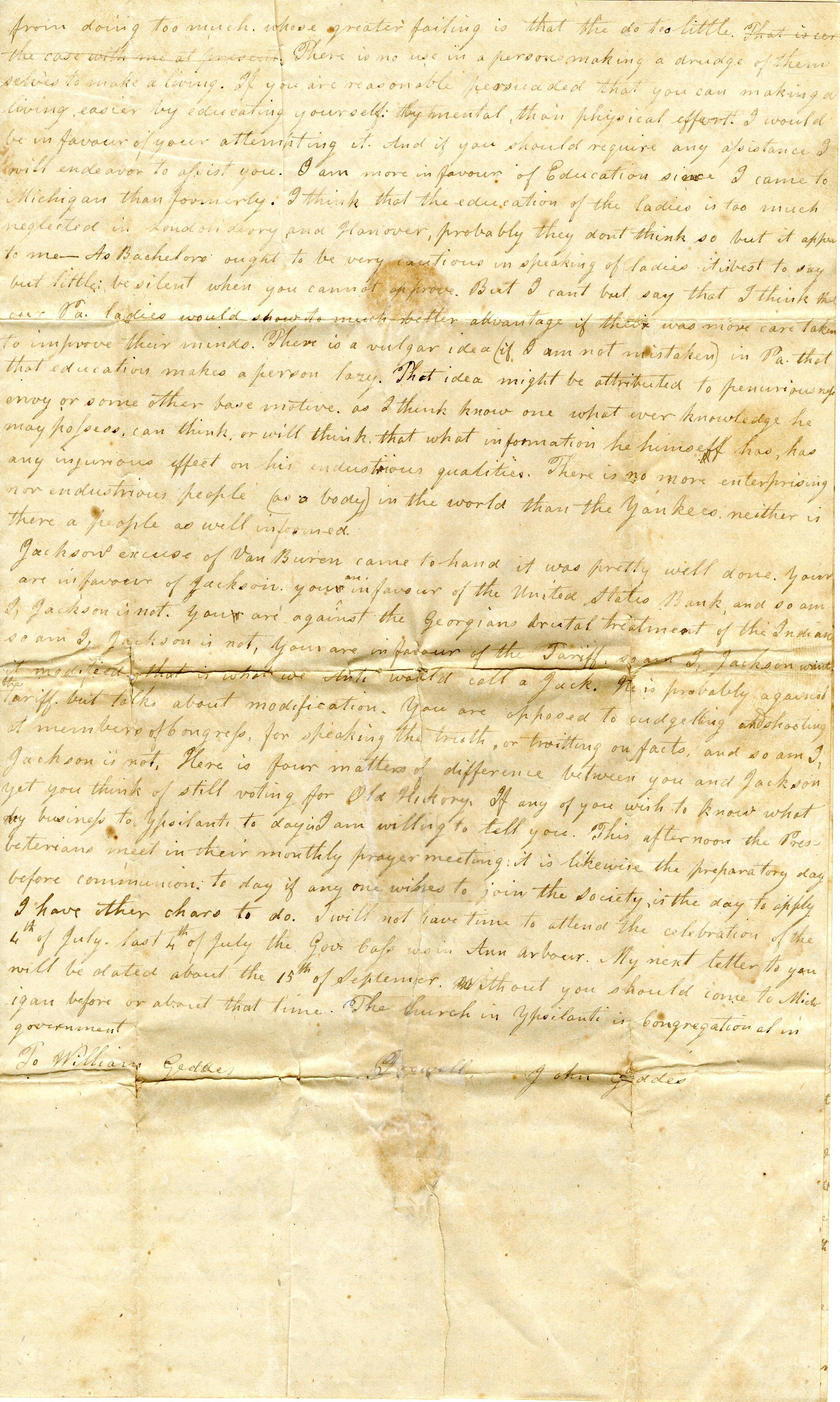 Letter From John Geddes to William Geddes, June 28, 1832 image