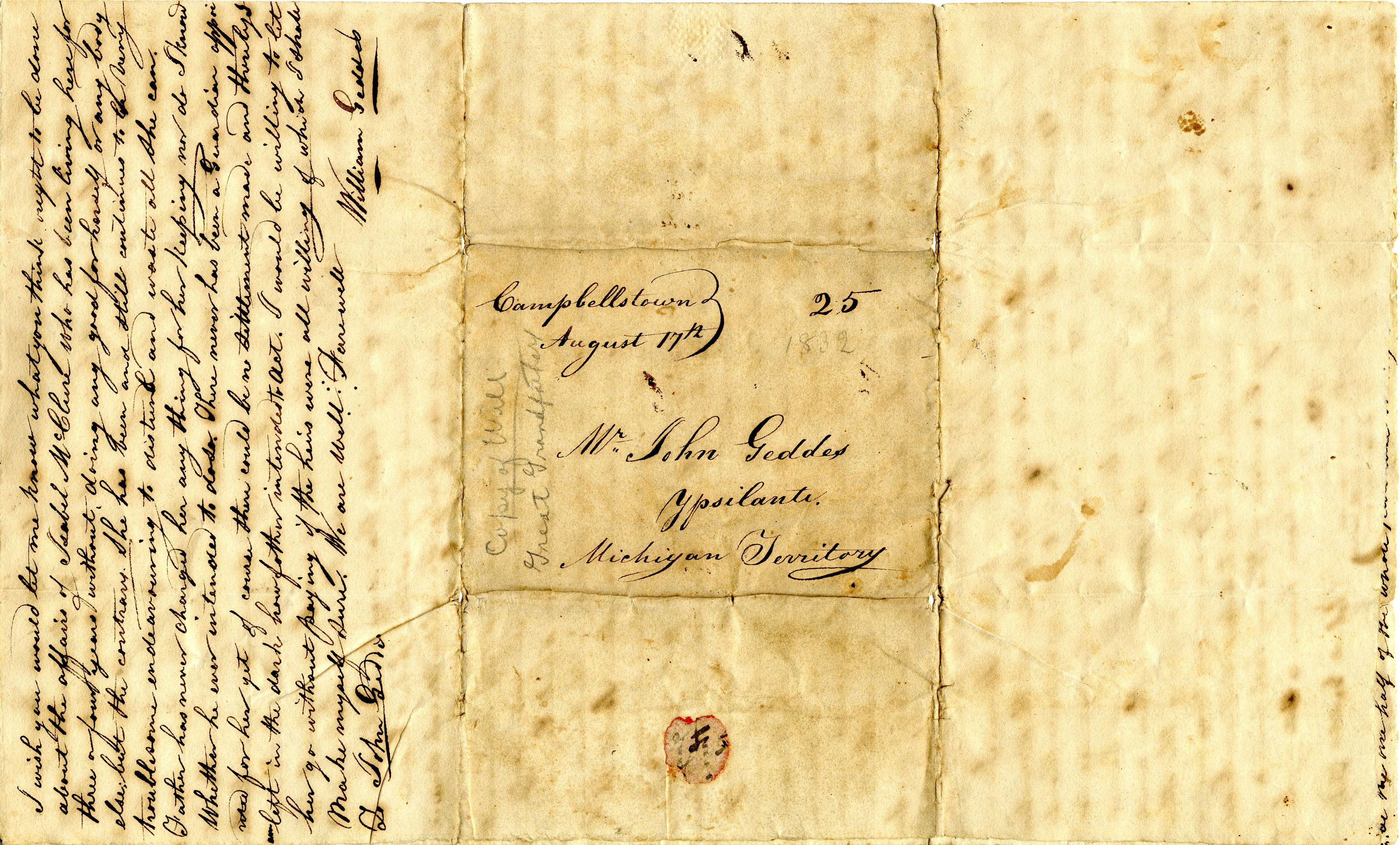 Letter From William Geddes to John Geddes, August 17, 1832 image