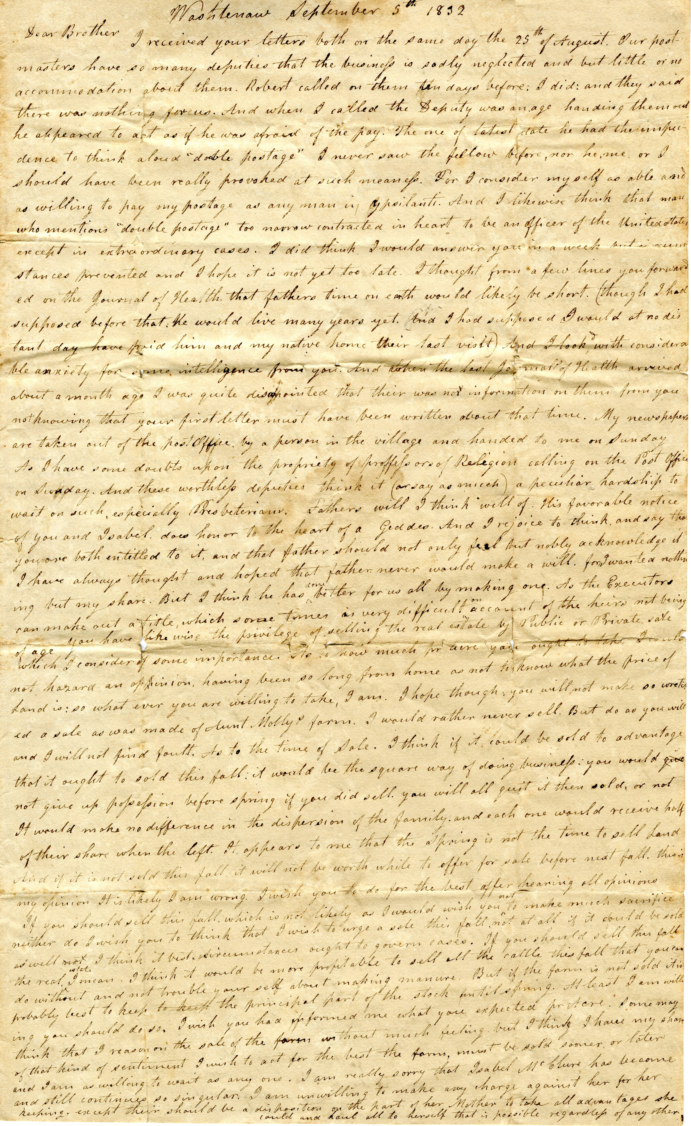 Letter From John Geddes to William Geddes, September 5, 1832 image