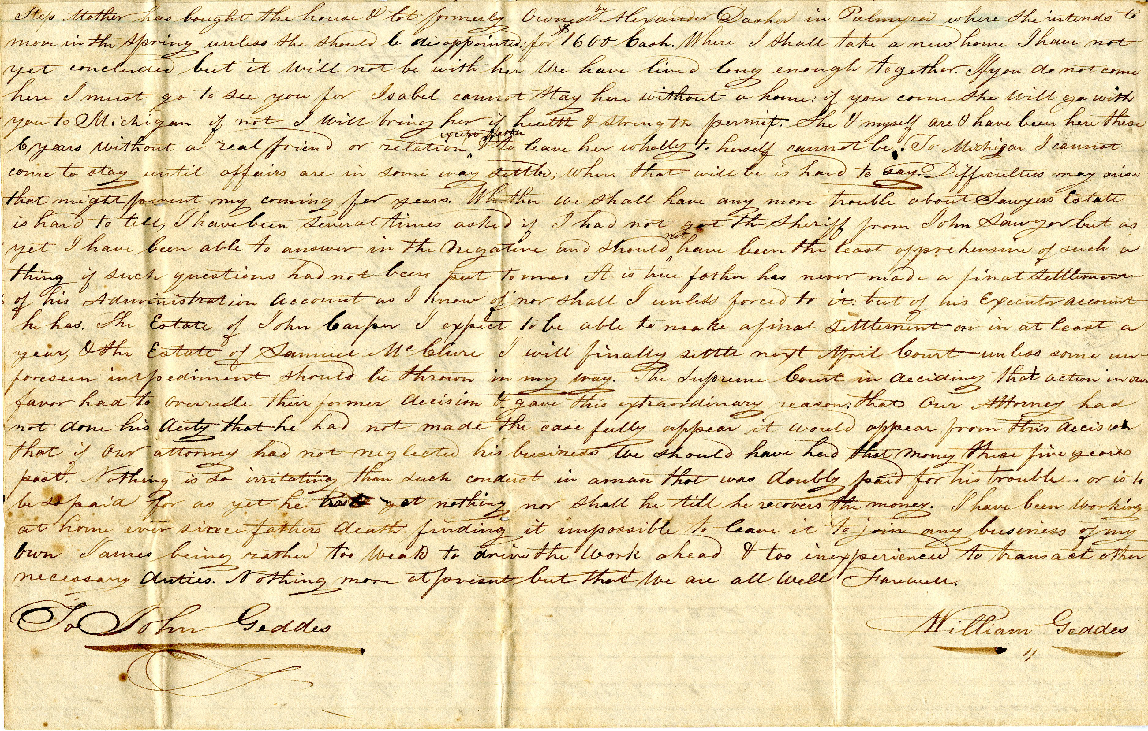 Letter From William Geddes to John Geddes, December 29, 1832 image