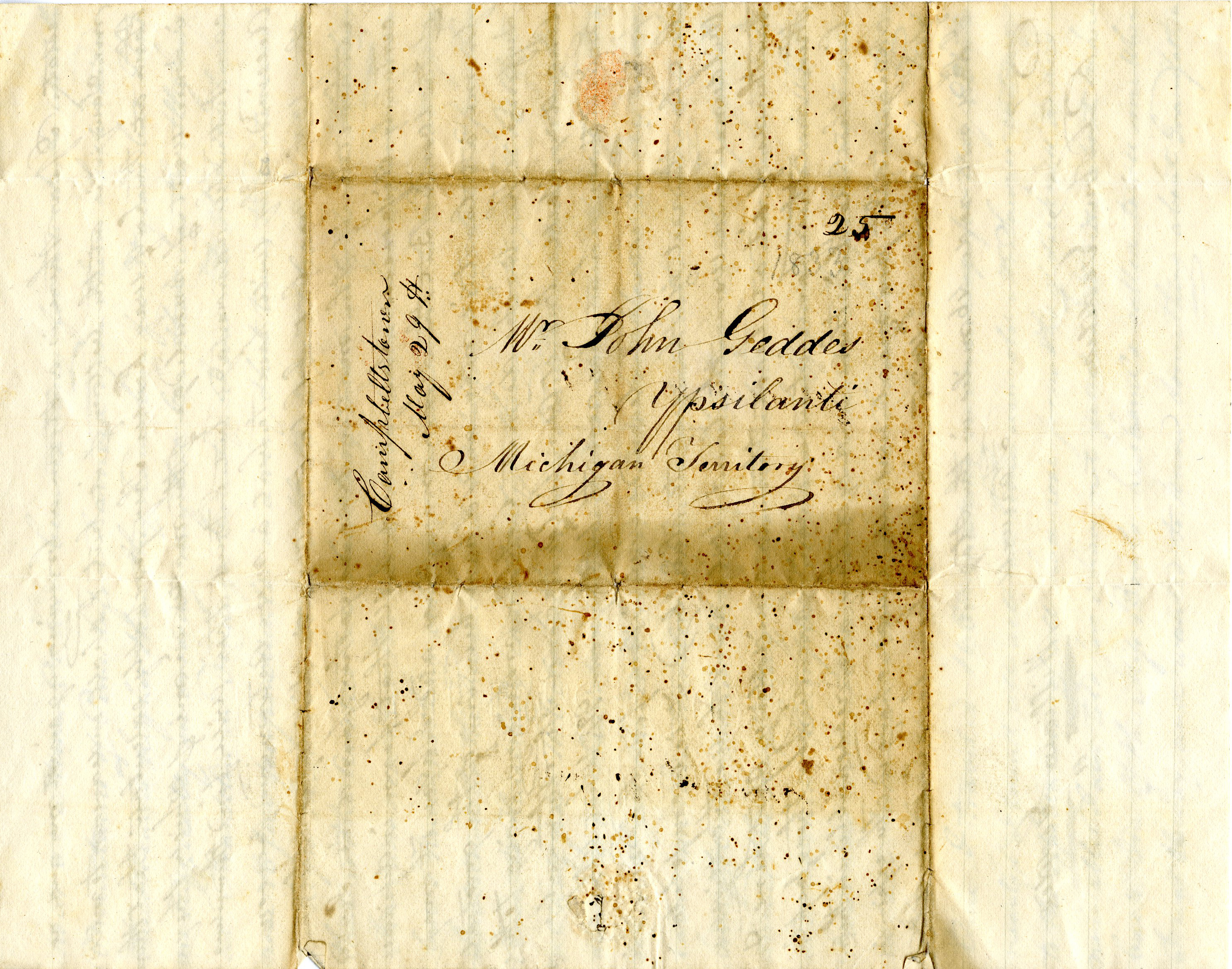 Letter From William Geddes to John Geddes, May 25, 1833 image