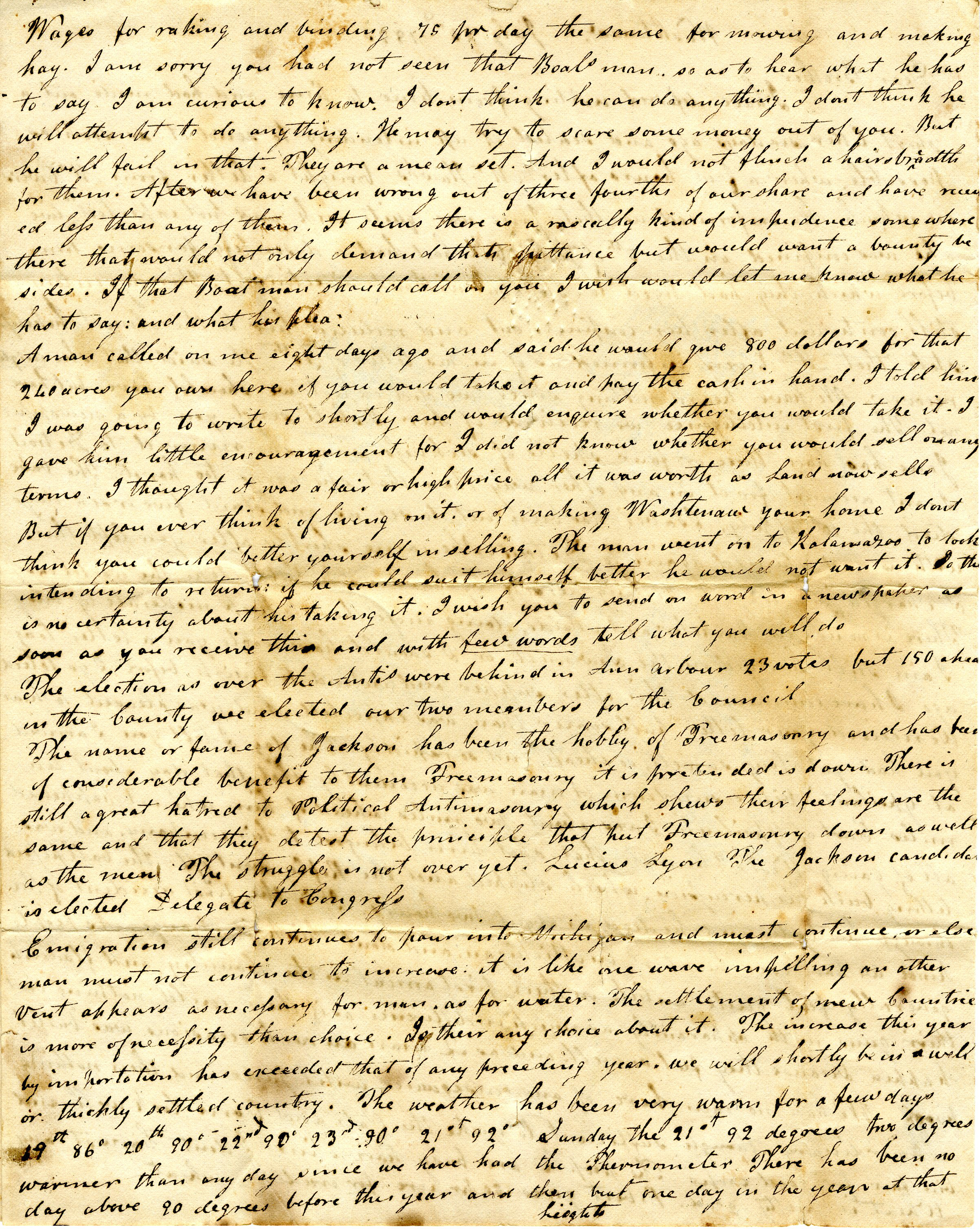 Letter From John Geddes to William Geddes, July 23, 1833 image