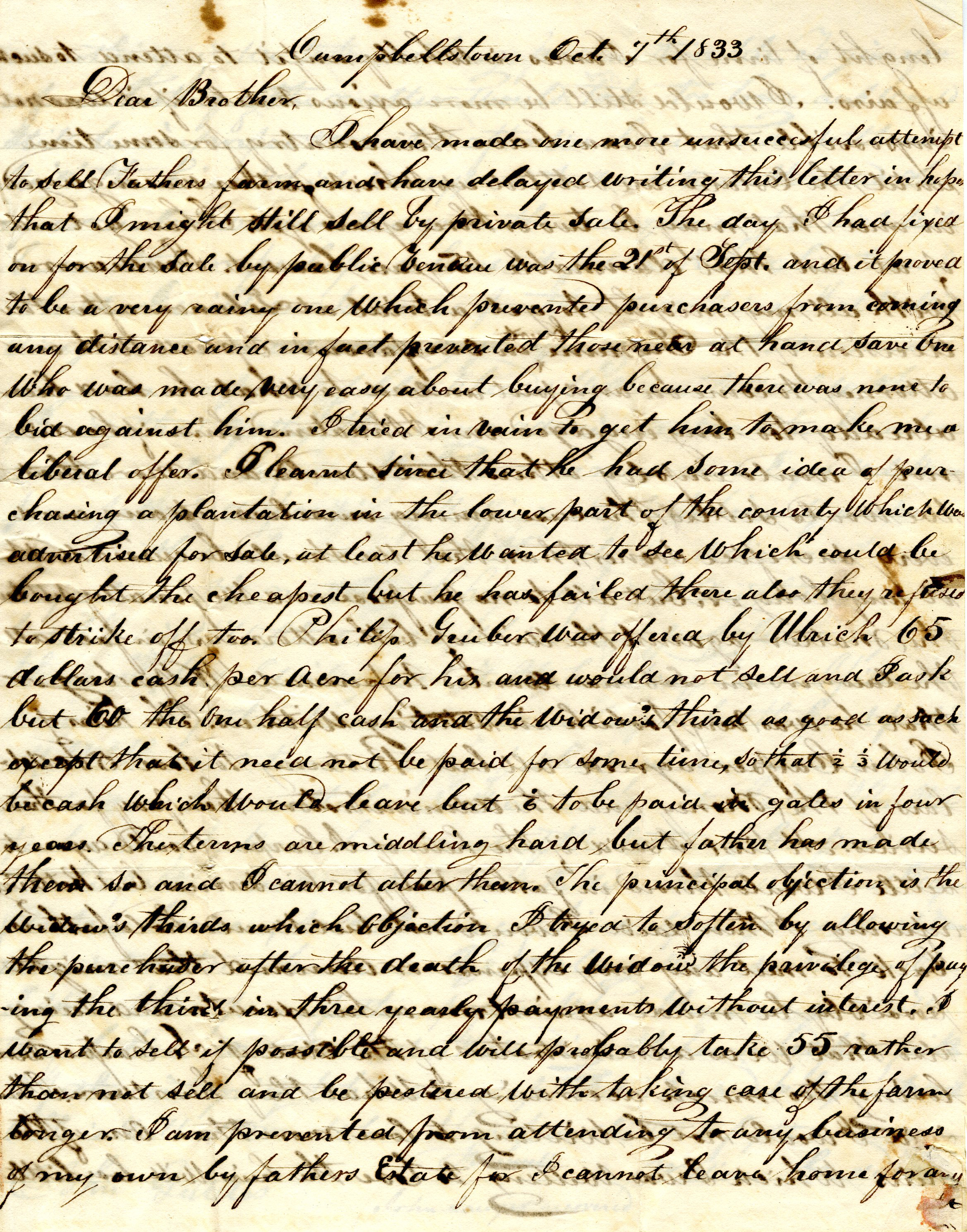 Letter From William Geddes to John Geddes, October 7, 1833 image