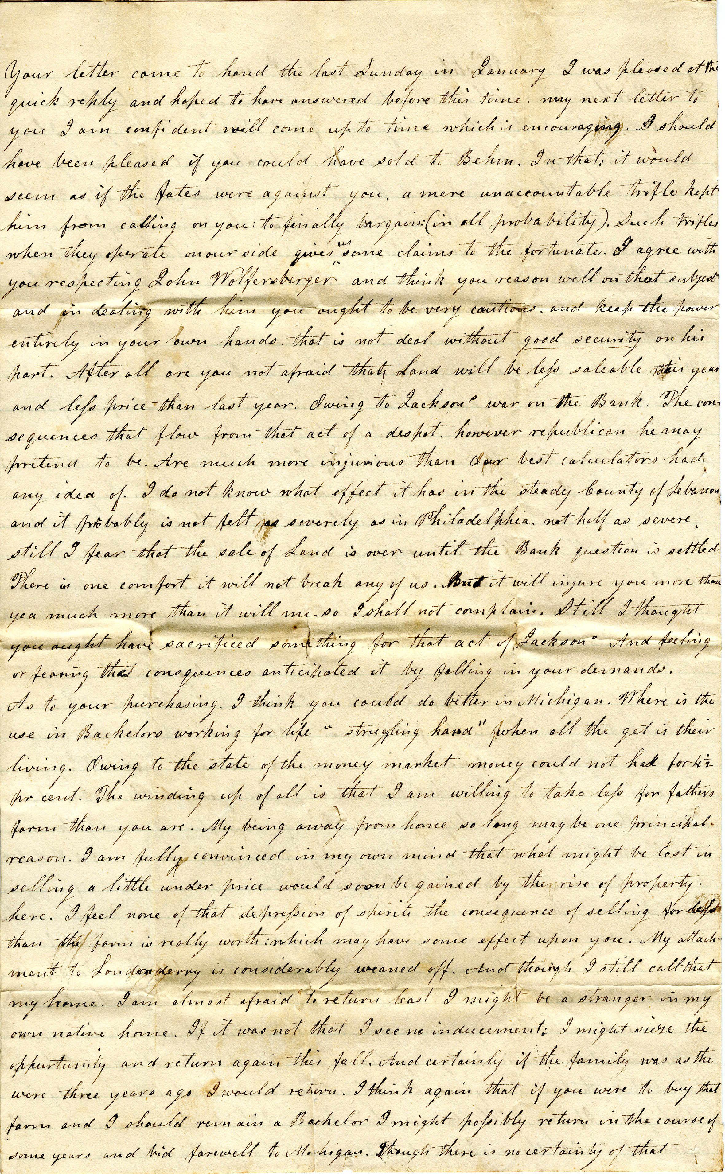 Letter From John Geddes to William Geddes, March 8, 1834 image