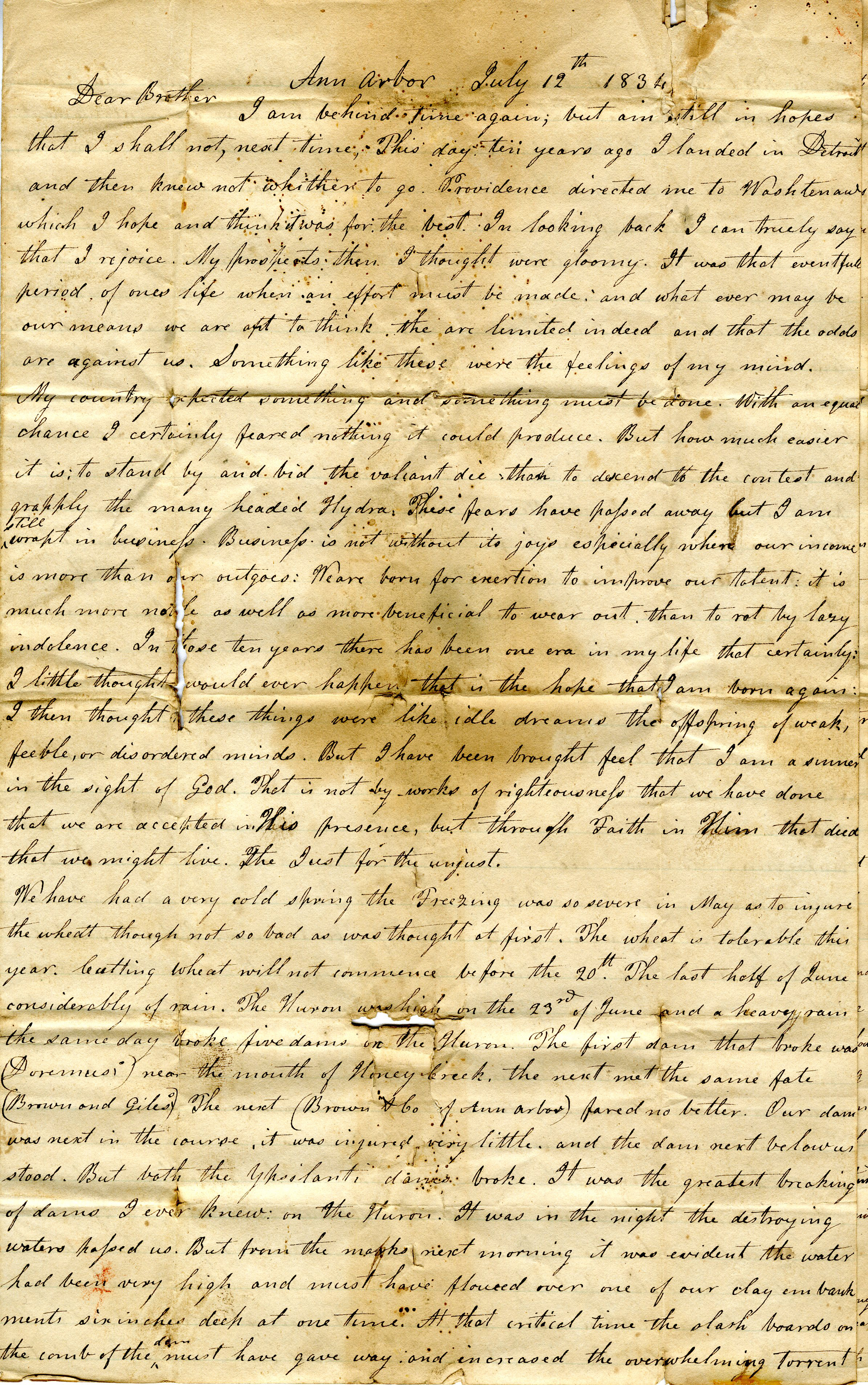 Letter From John Geddes to William Geddes, July 12, 1834 image