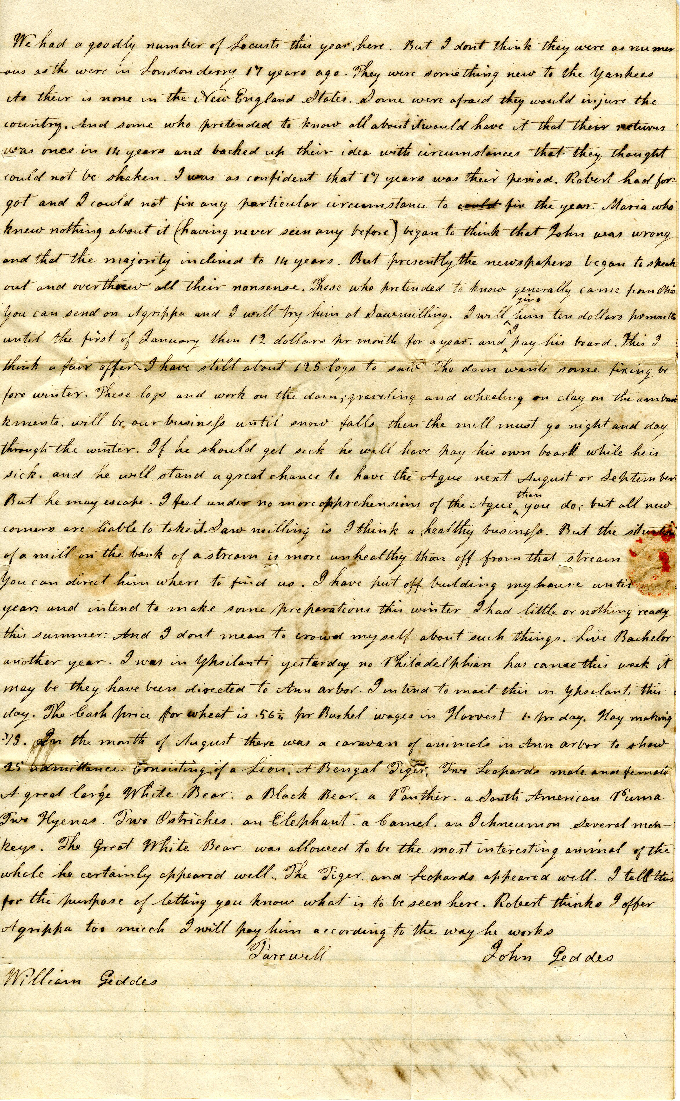 Letter From John Geddes to William Geddes, September 27, 1834 image