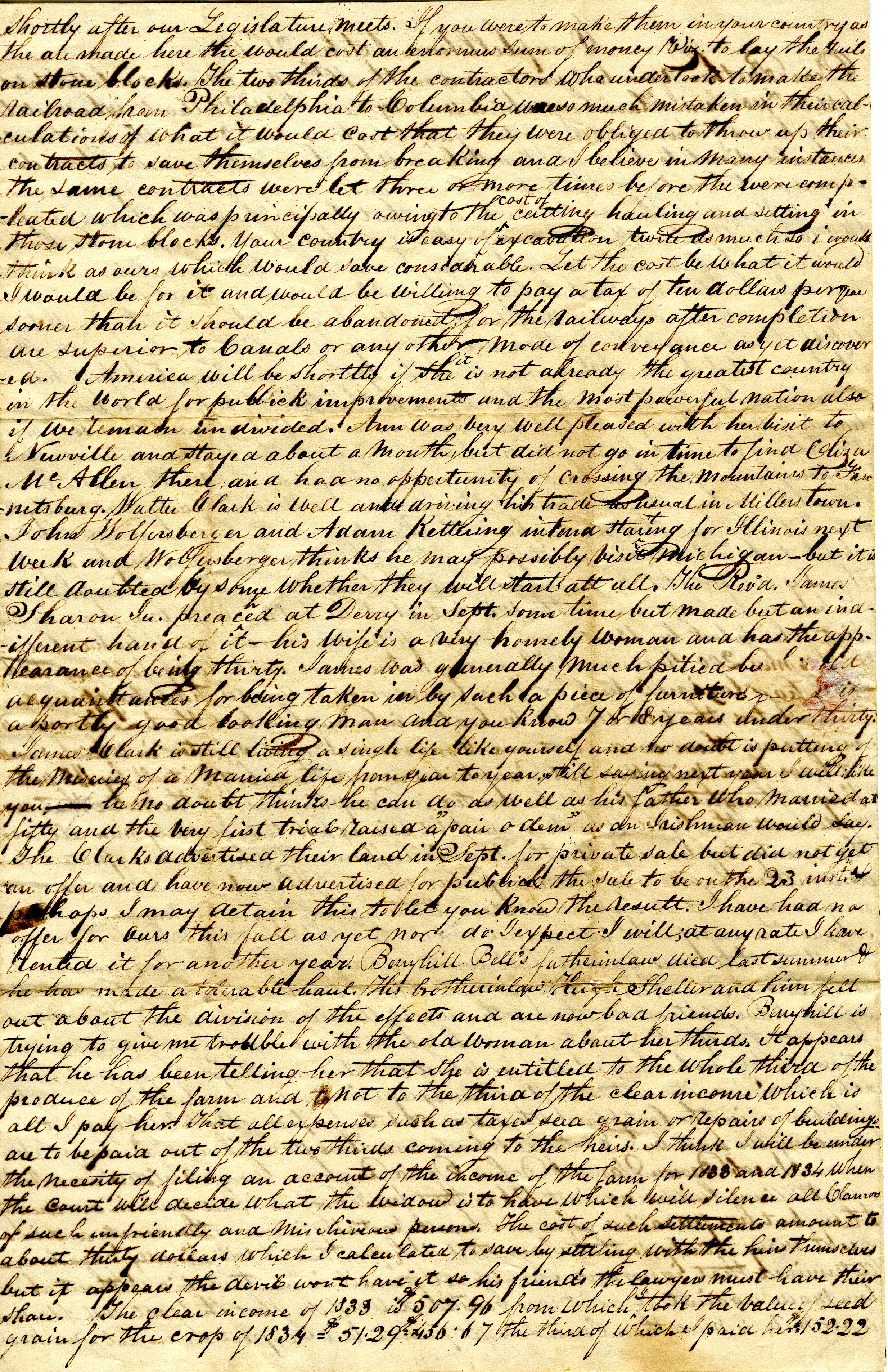 Letter From William Geddes to John Geddes, October 21, 1834 image