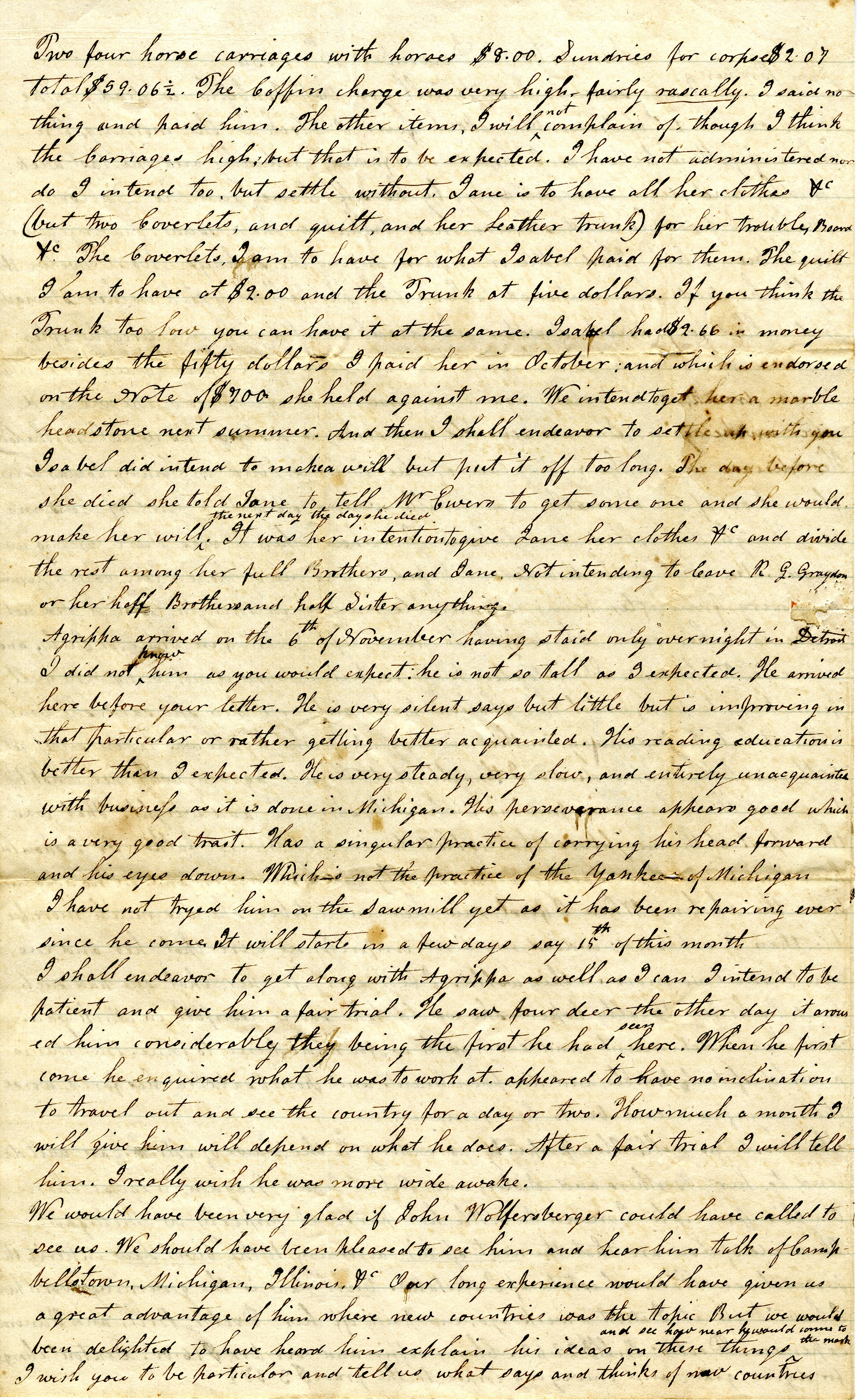 Letter From John Geddes to William Geddes, December 13, 1834 image