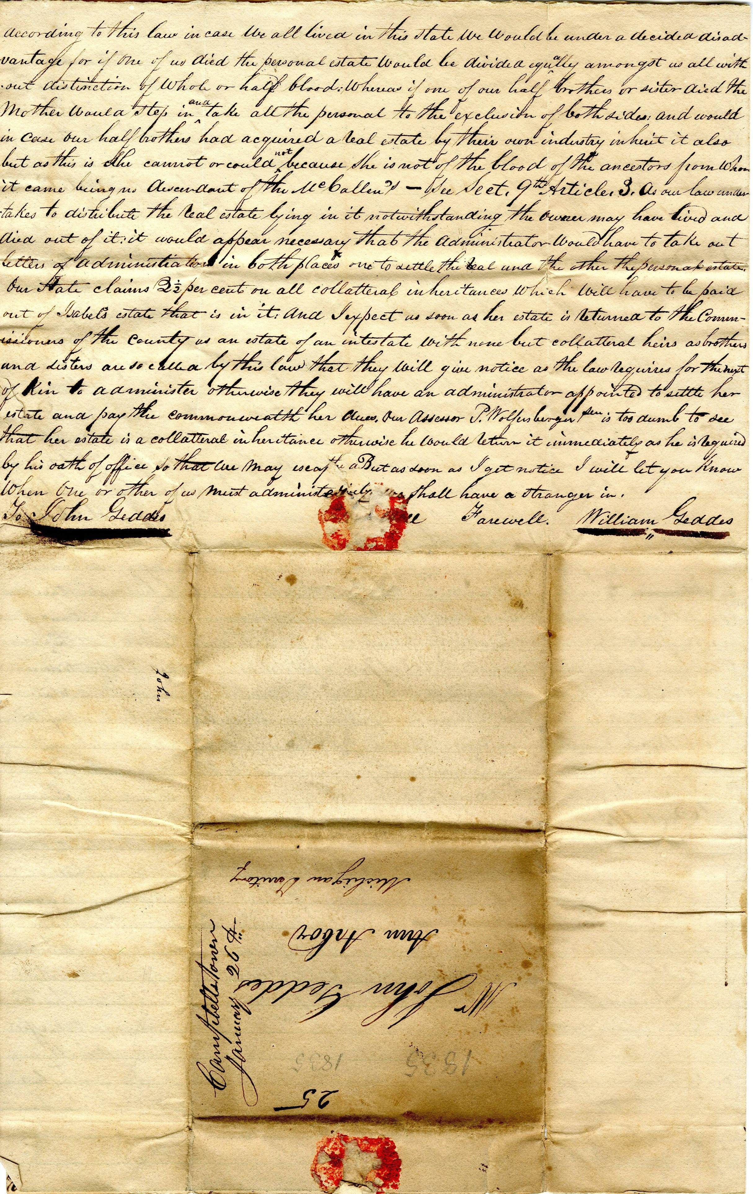 Letter From William  Geddes to John Geddes, January 30, 1835 image