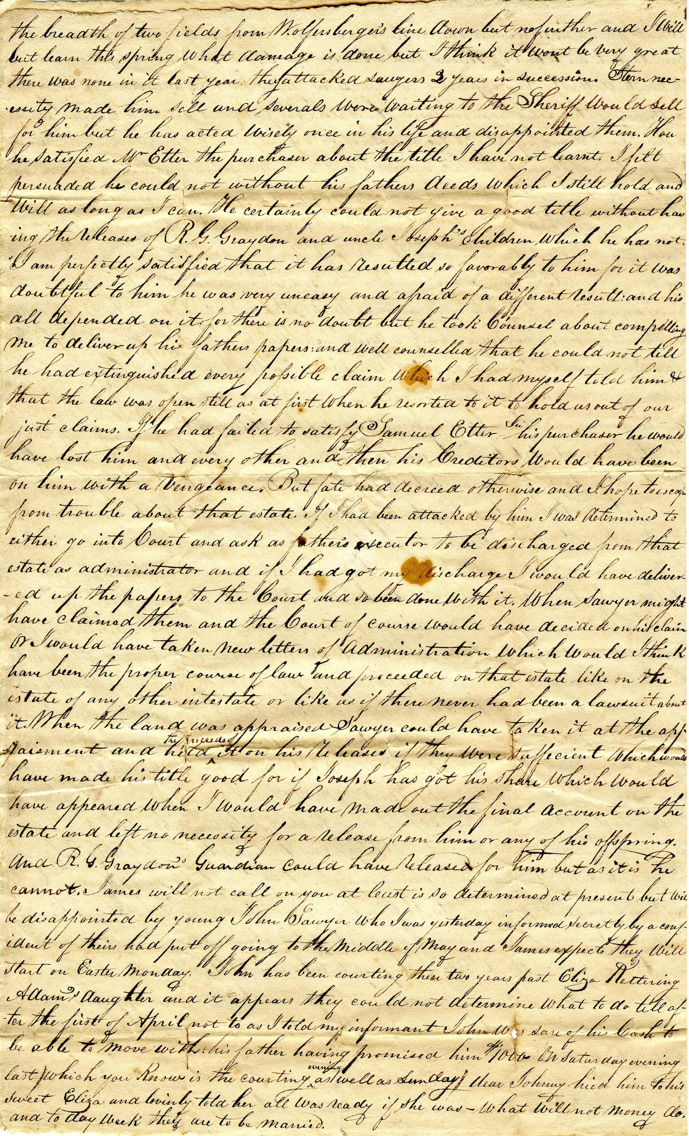 Letter From William Geddes to John Geddes, April 9, 1835 image