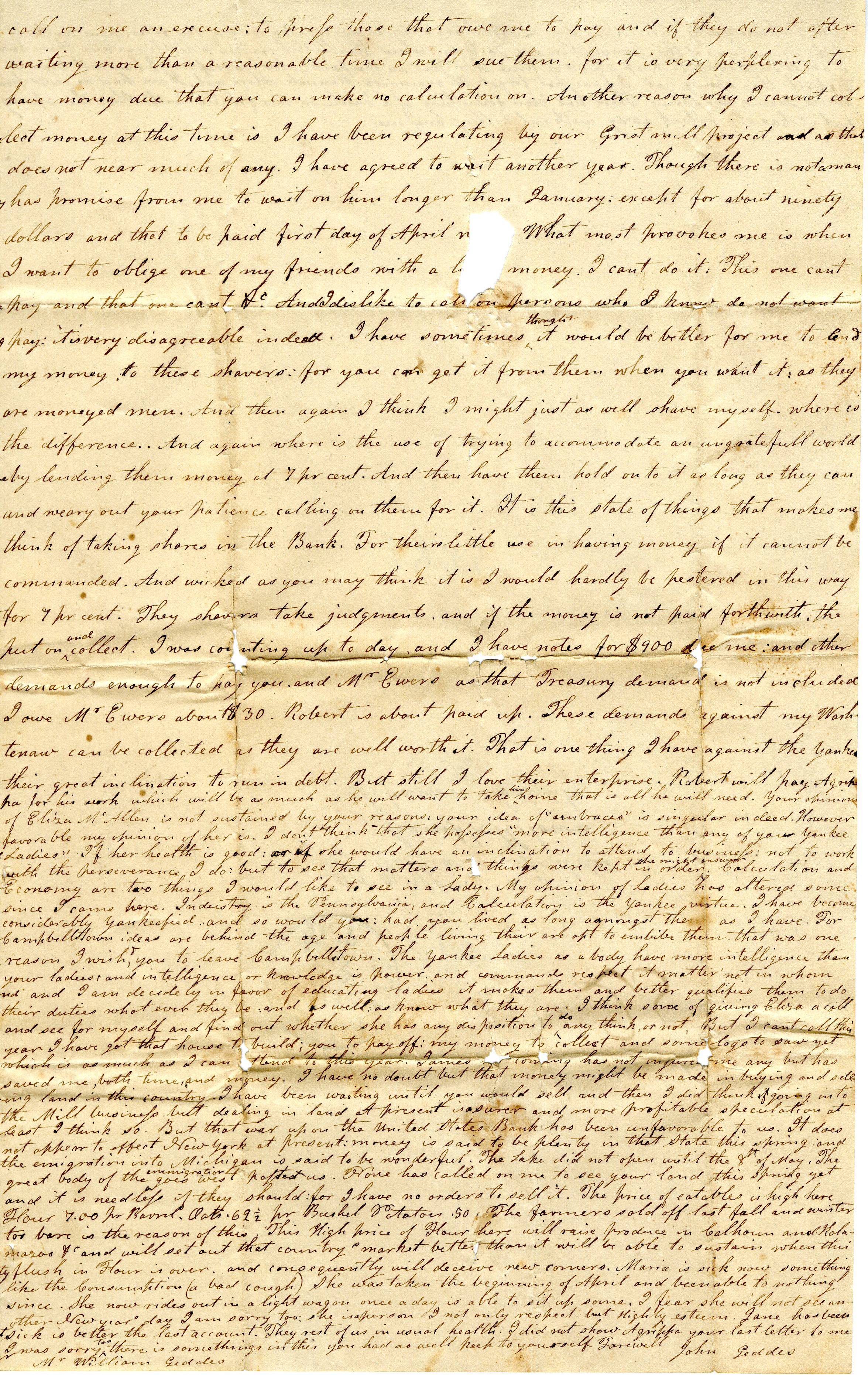 Letter From John Geddes to William Geddes, May 27, 1835 image