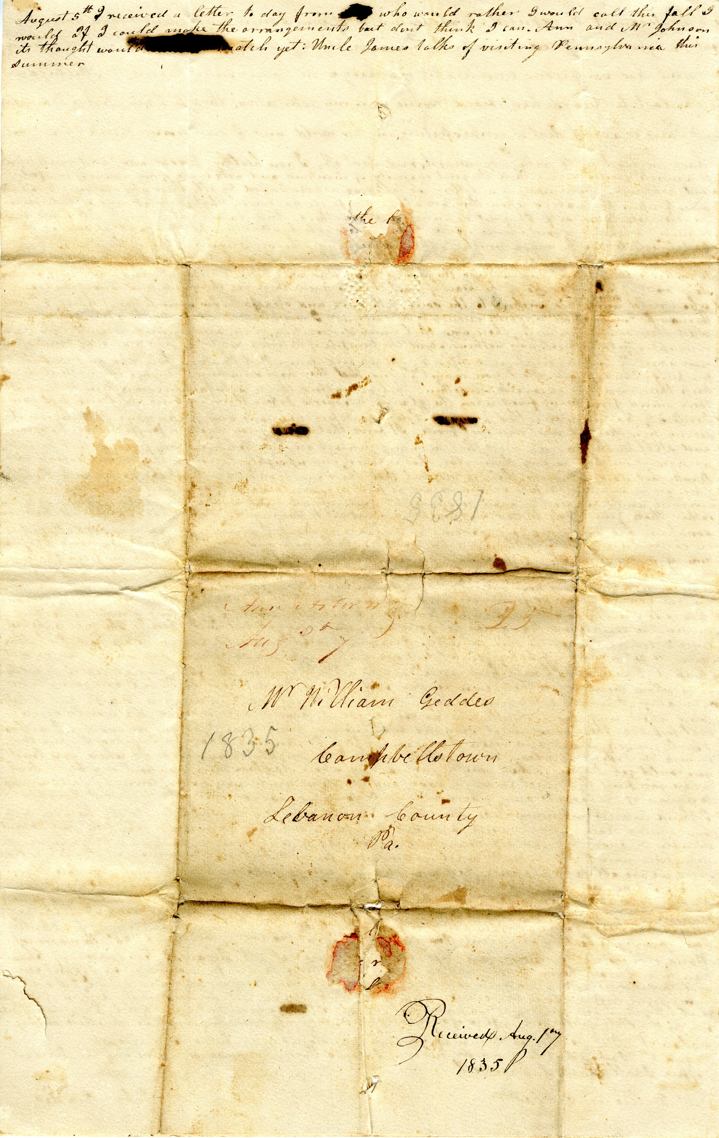 Letter From John Geddes to William Geddes, August 3, 1835 image