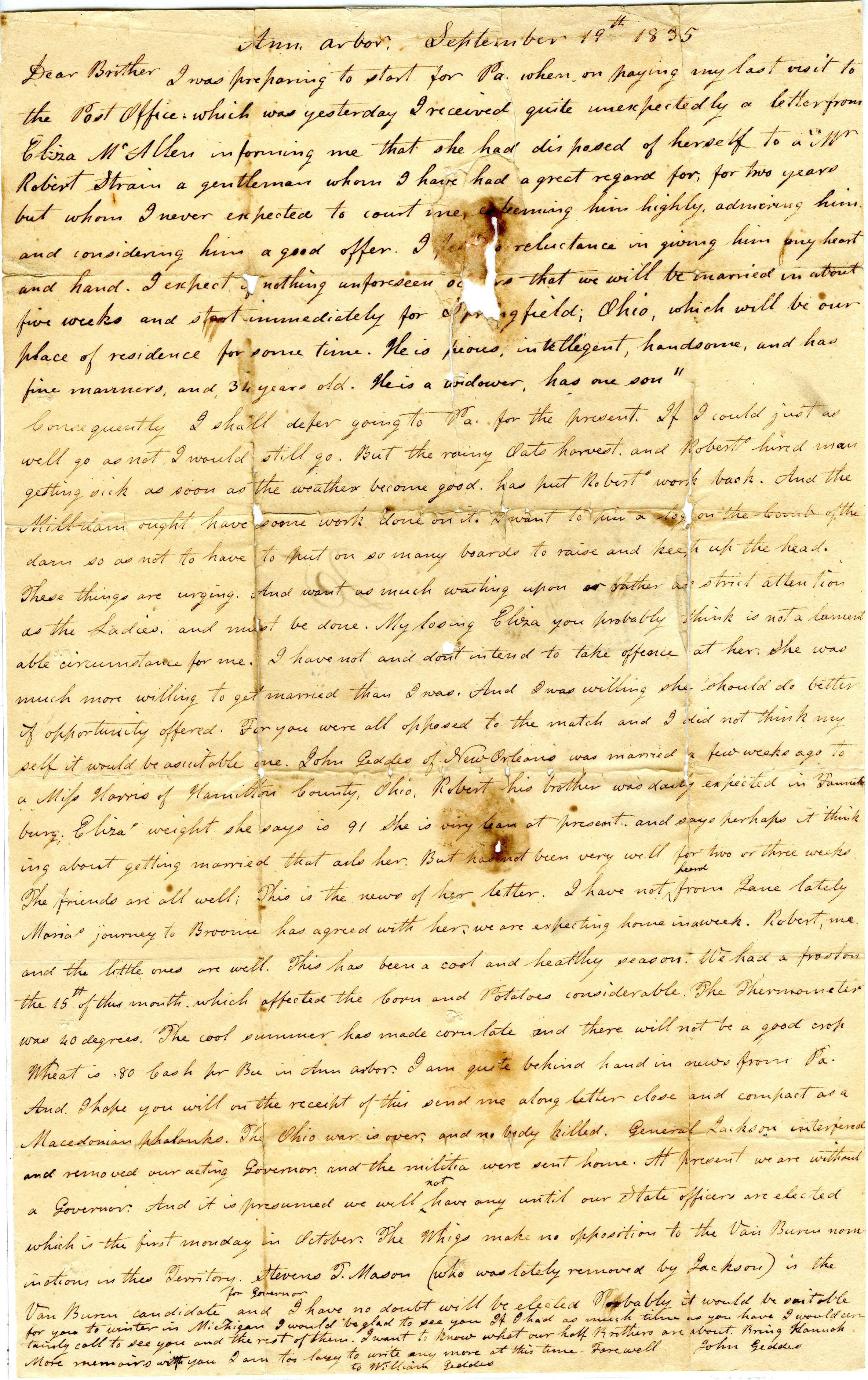 Letter From John Geddes to William Geddes, September 19, 1835 image