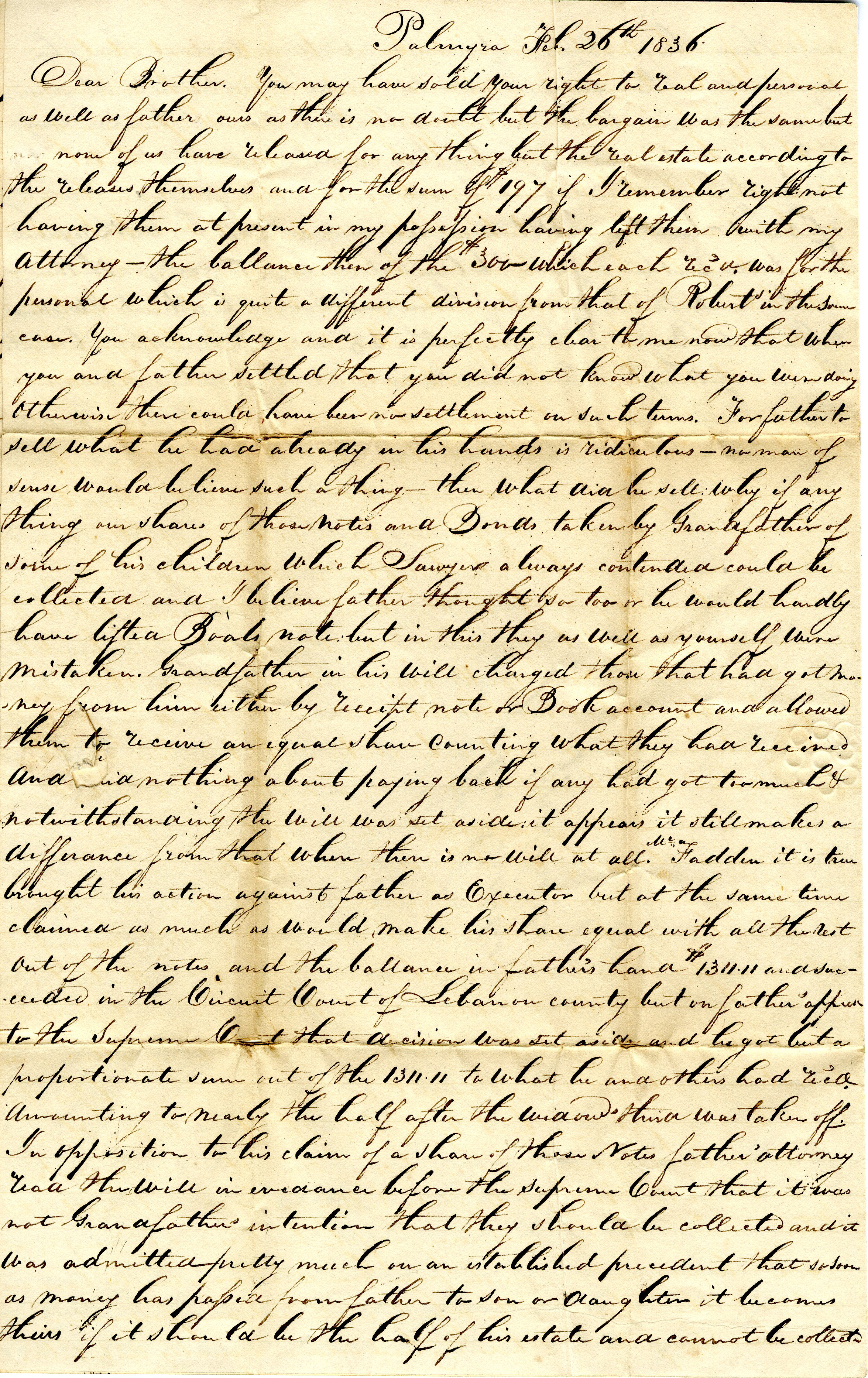 Letter From William Geddes to John Geddes, February 26, 1836 image
