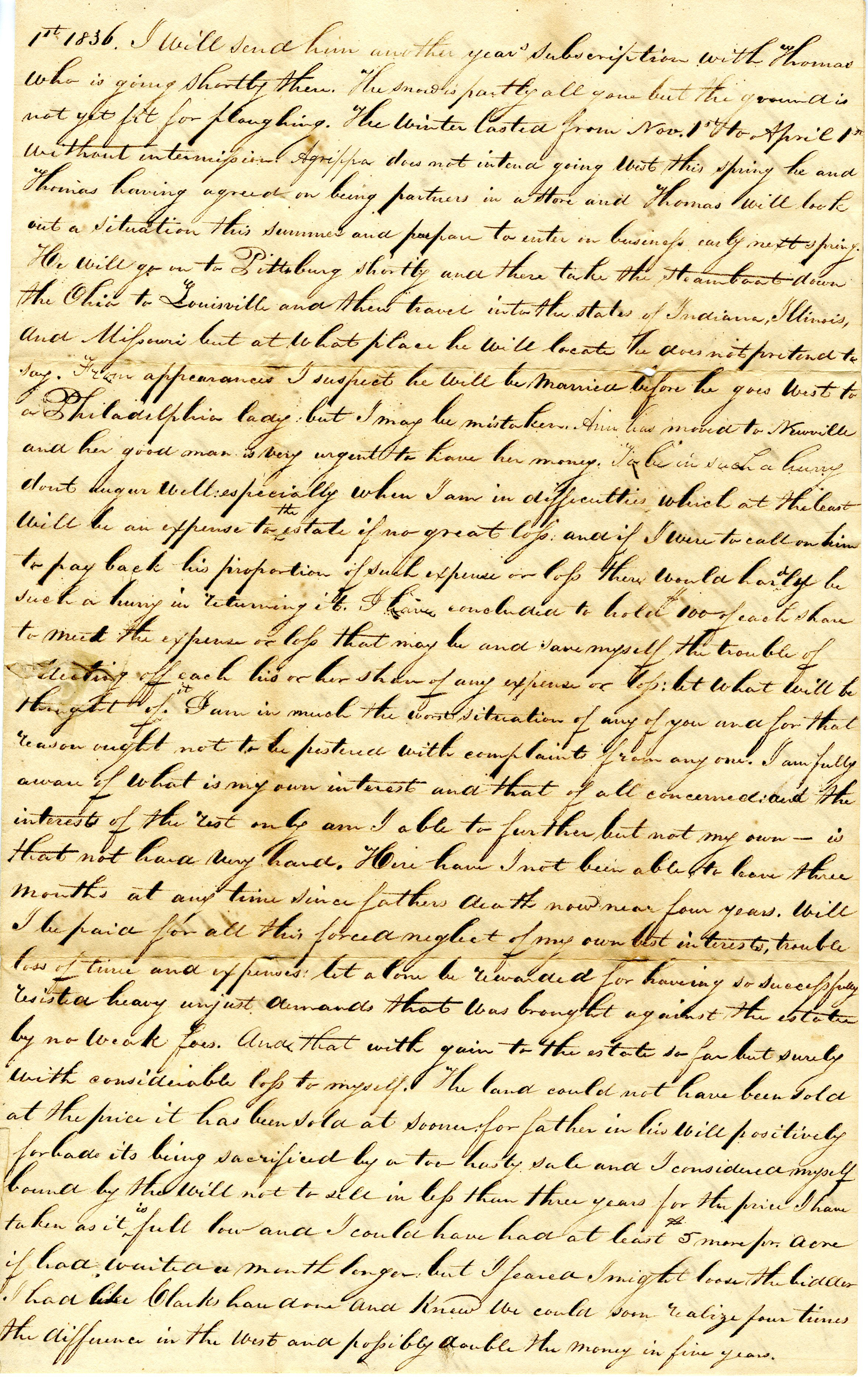 Letter From William Geddes to John Geddes, April 2, 1836 image