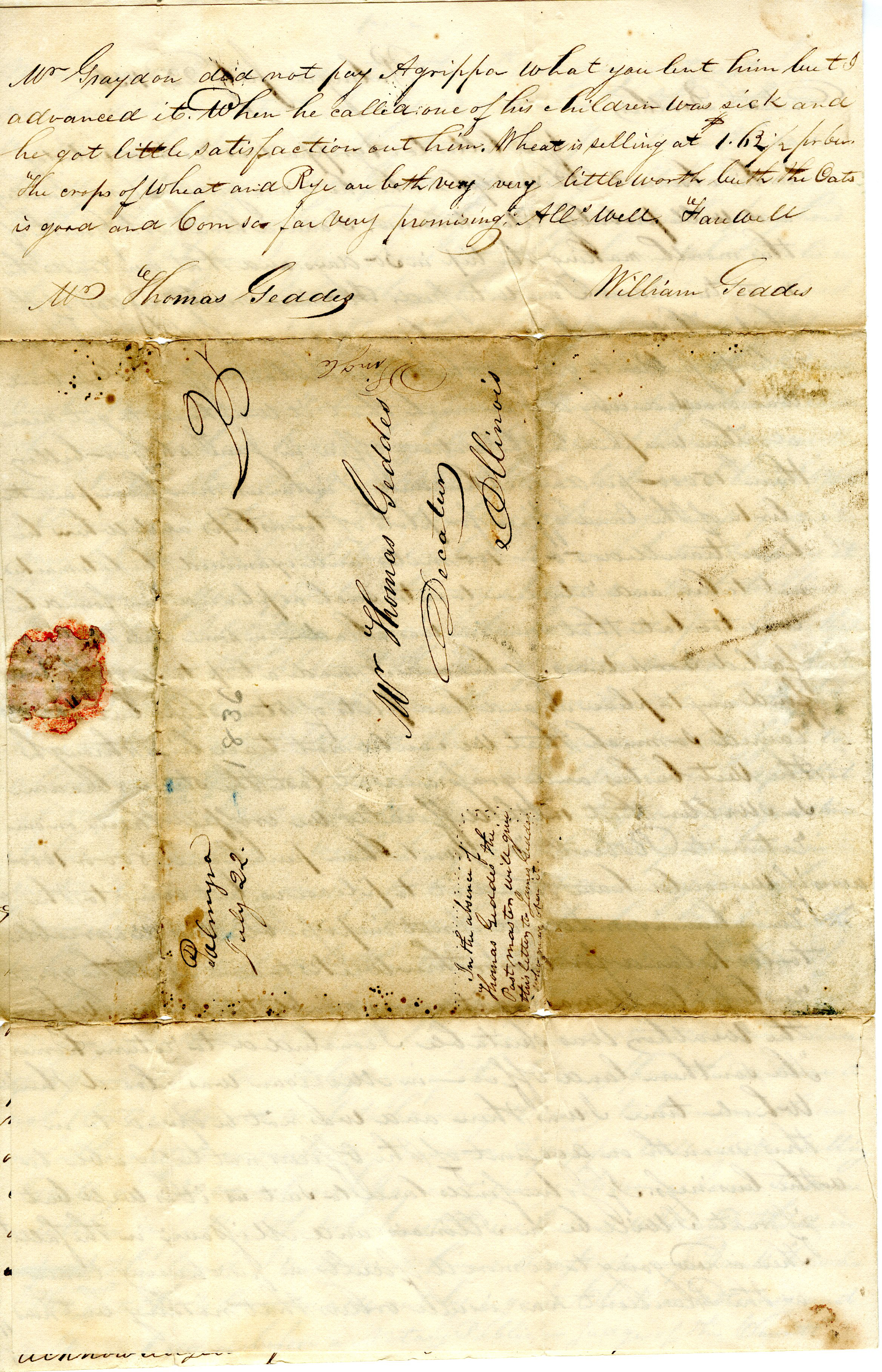Letter From William Geddes to Thomas Geddes, July 22, 1836 image
