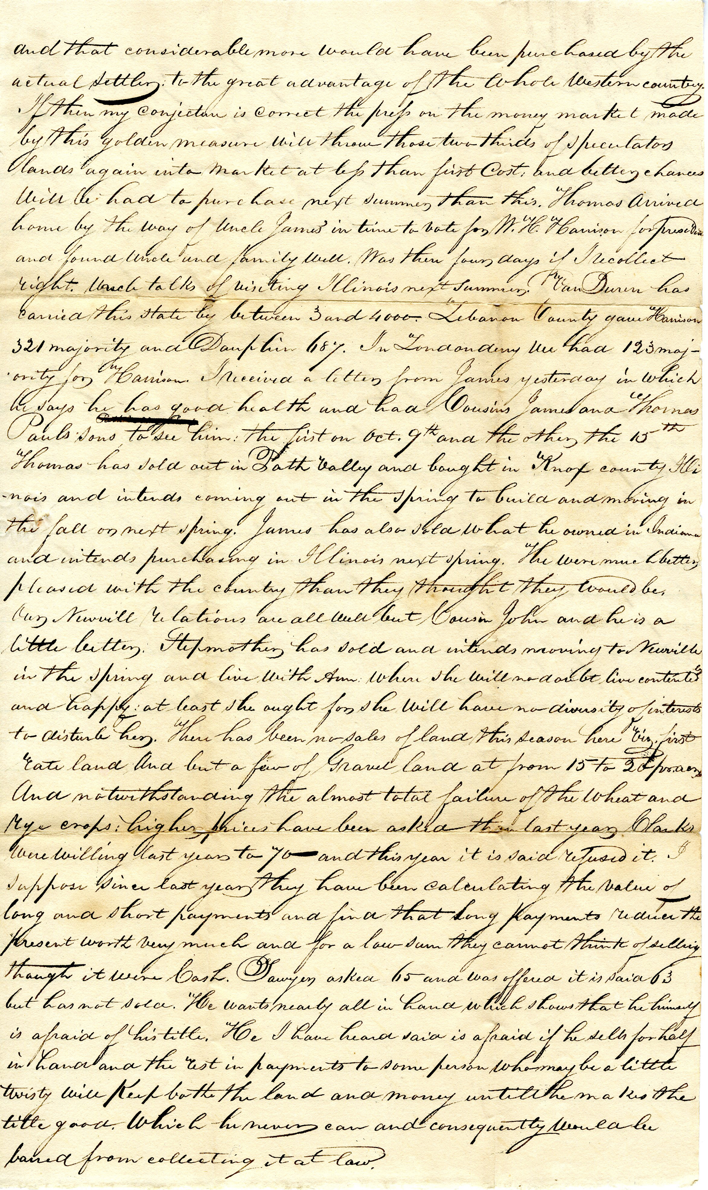 Letter From William Geddes to John Geddes, November 16, 1836 image