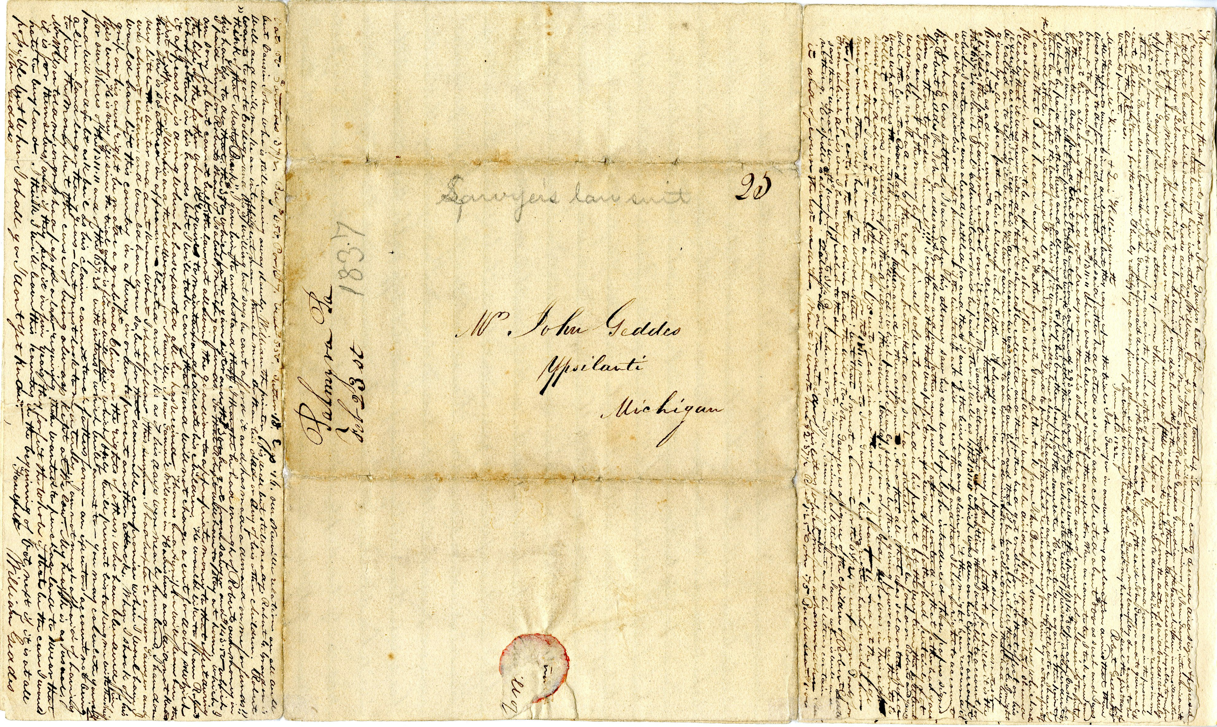 Letter From William Geddes to John Geddes, February 22, 1837 image