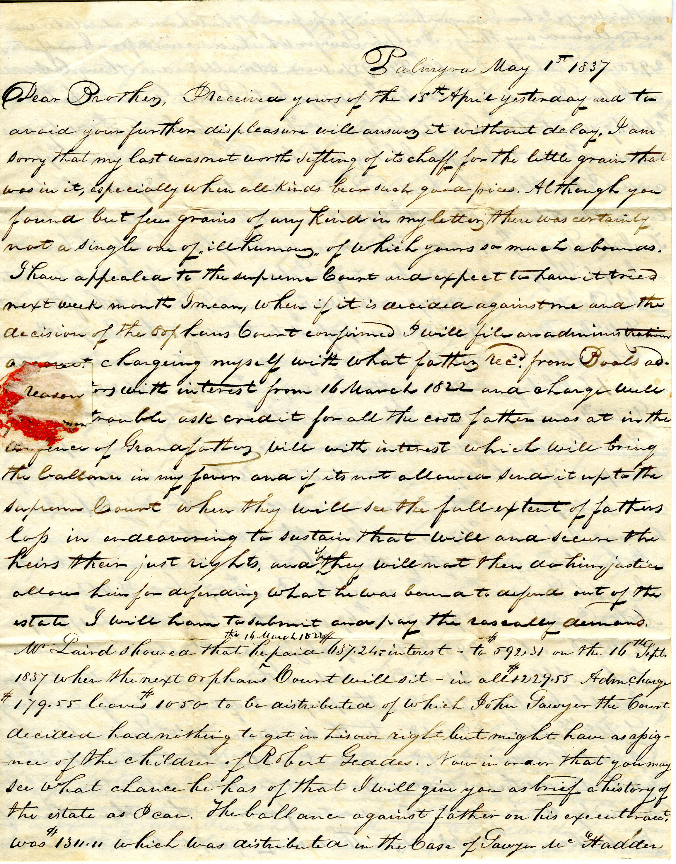 Letter From William Geddes to John Geddes, May 1, 1837 image