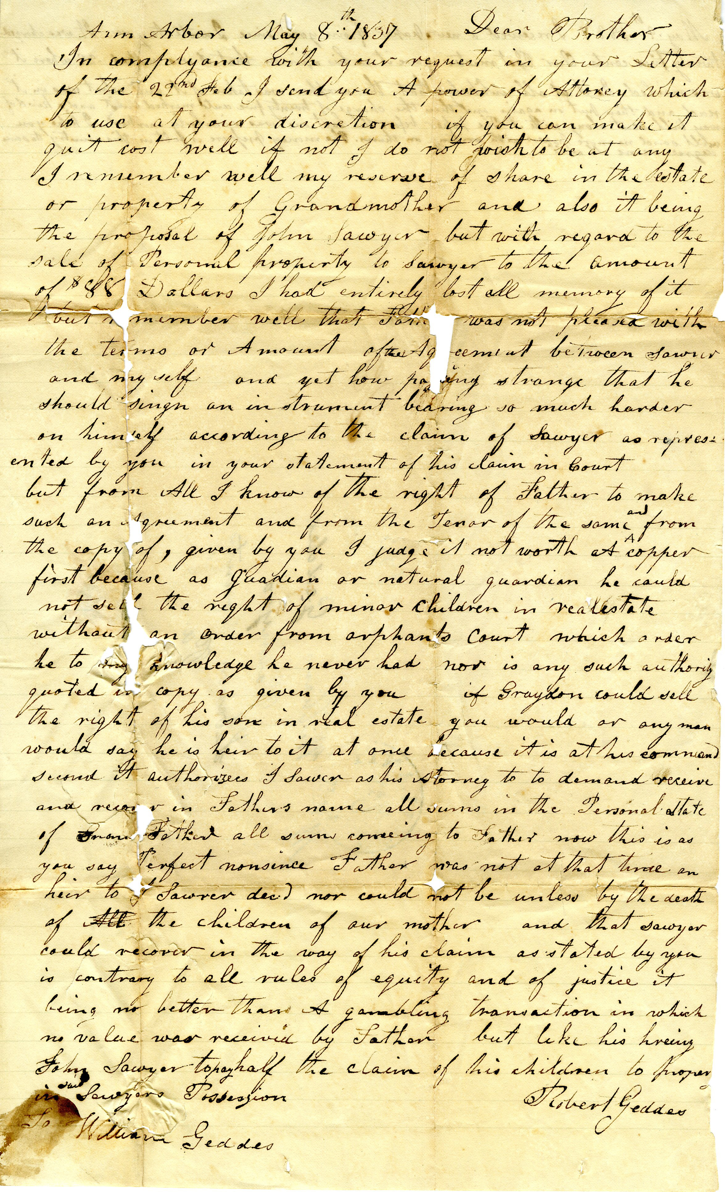 Letter From John and Robert Geddes to William Geddes, May 8, 1837 image