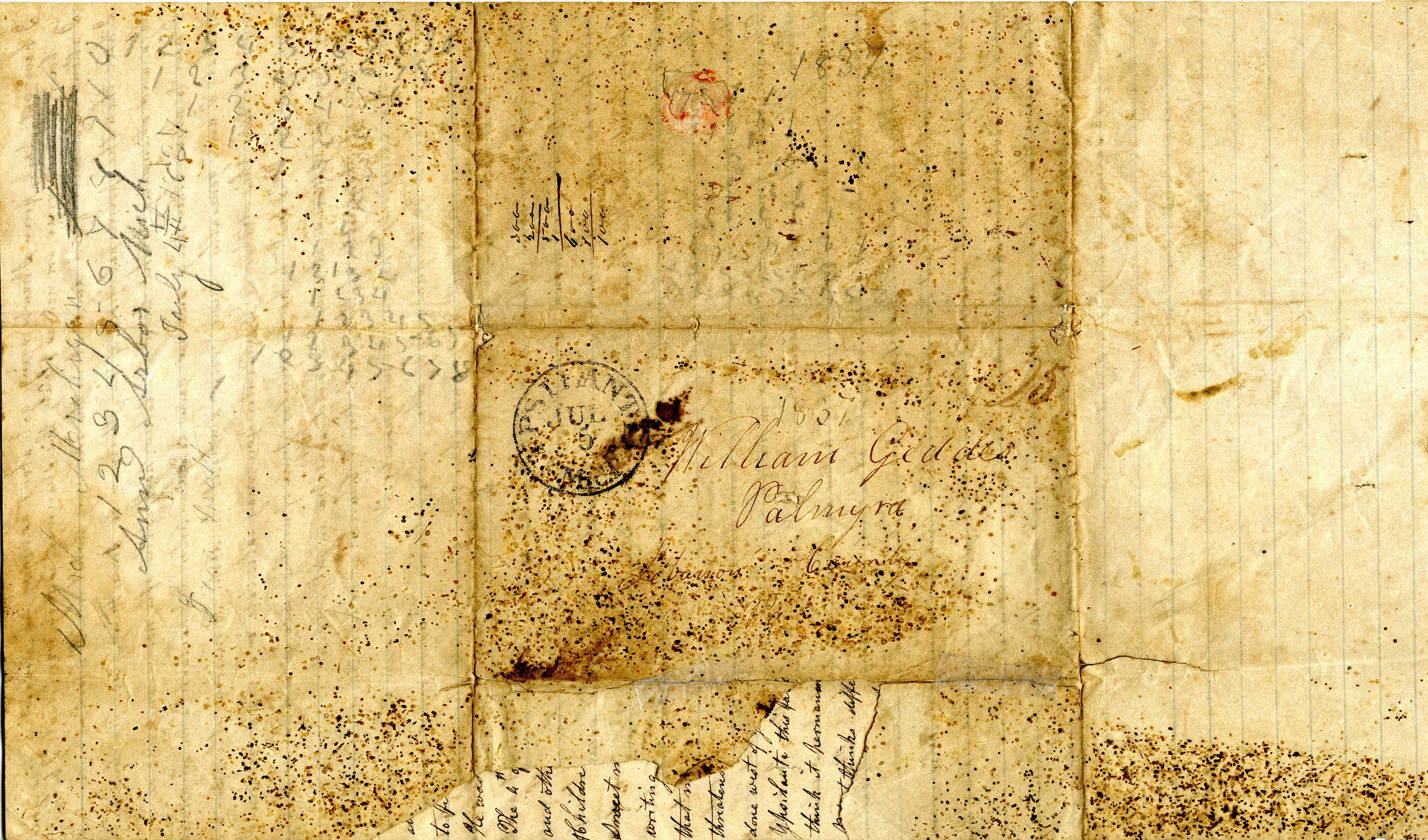 Letter From John Geddes to William Geddes, July 4, 1837 image
