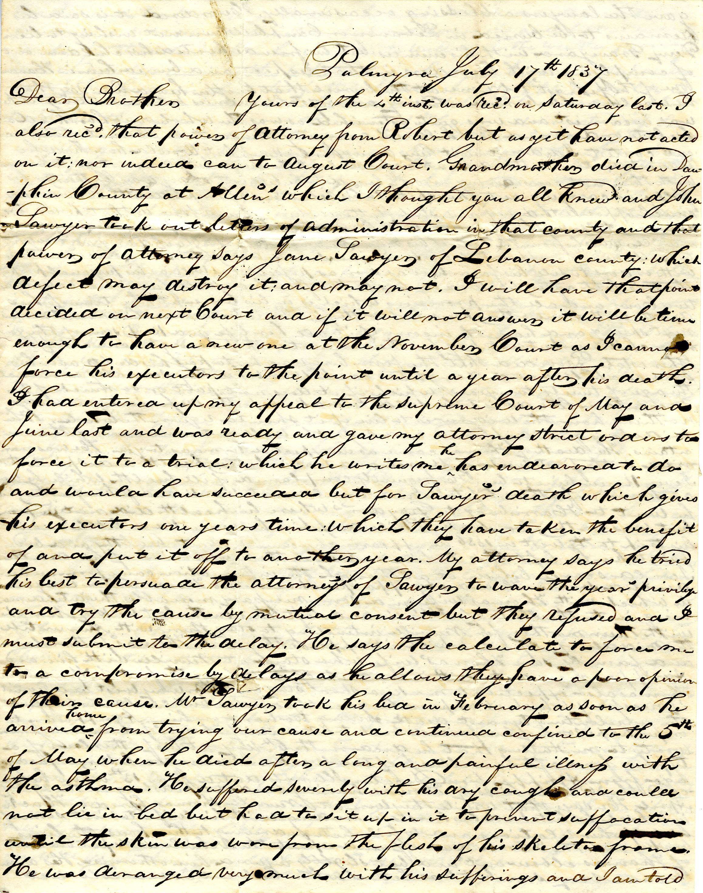 Letter From William Geddes to John Geddes, July 17, 1837 image