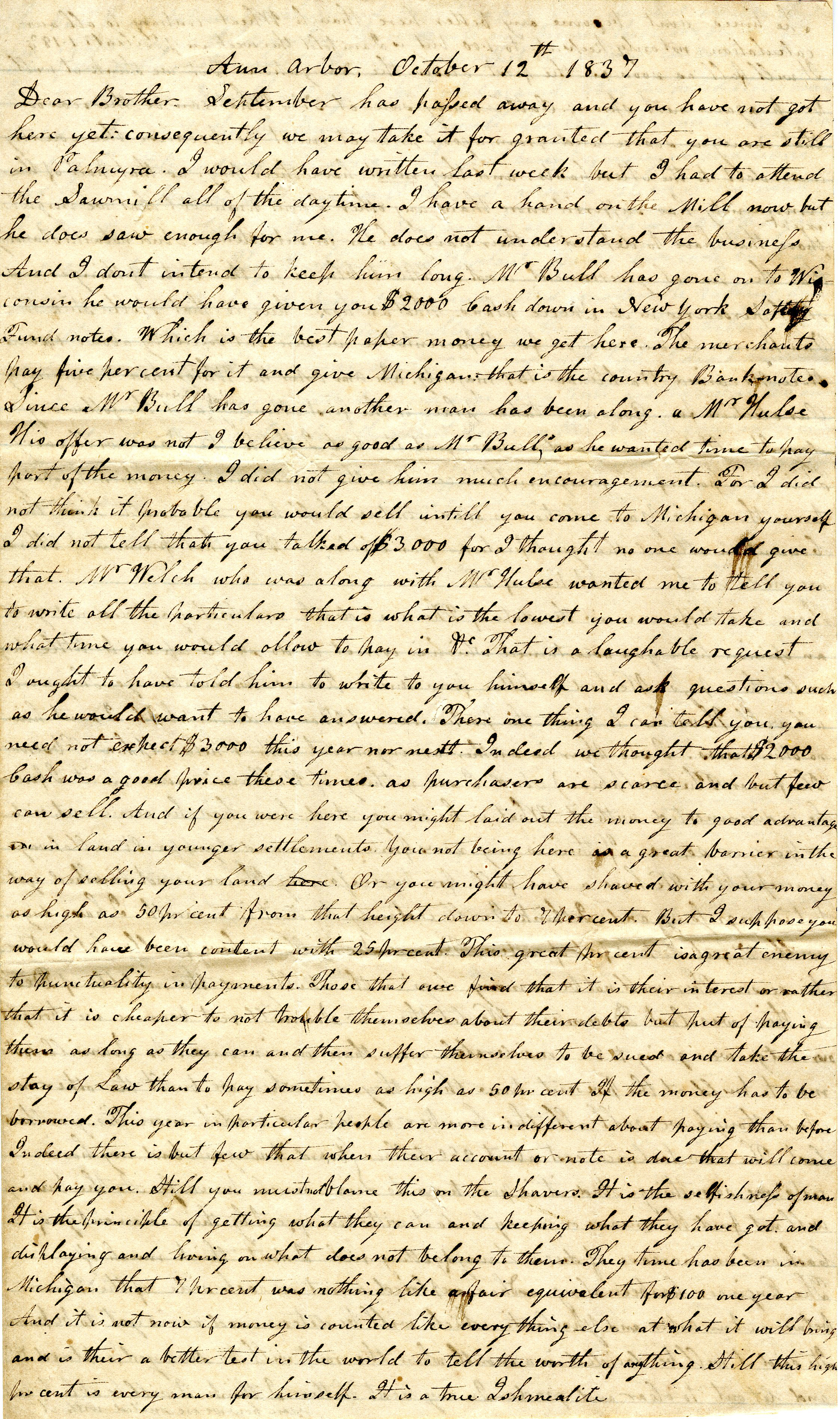 Letter From John Geddes to William Geddes, October 12, 1837 image