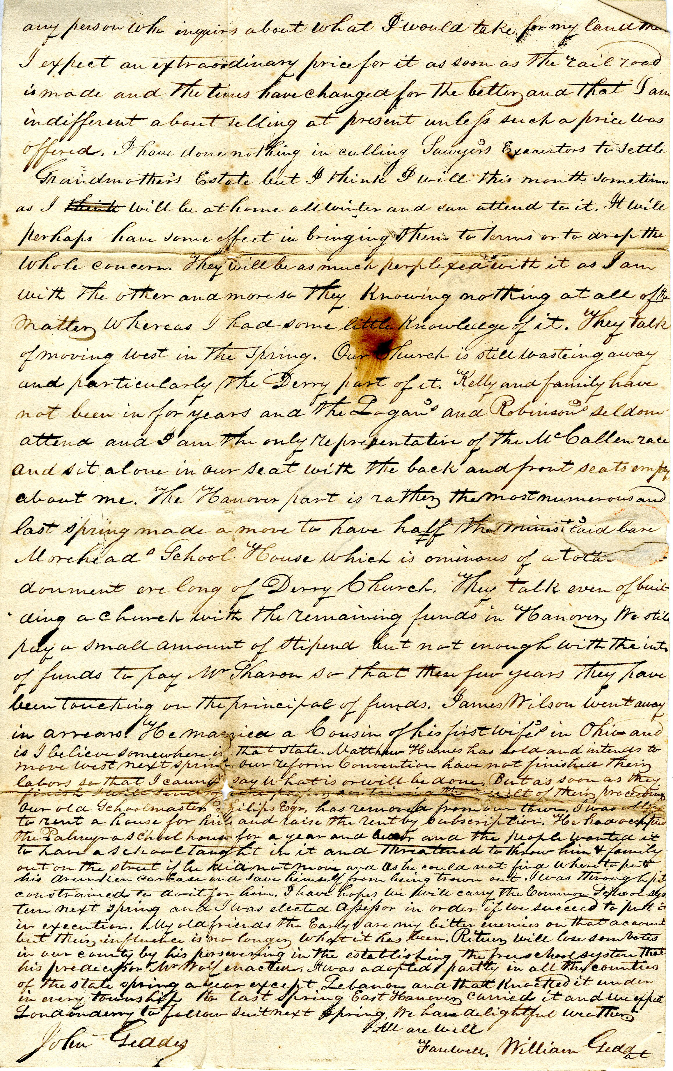 Letter From William Geddes to John Geddes, November 9, 1837 image