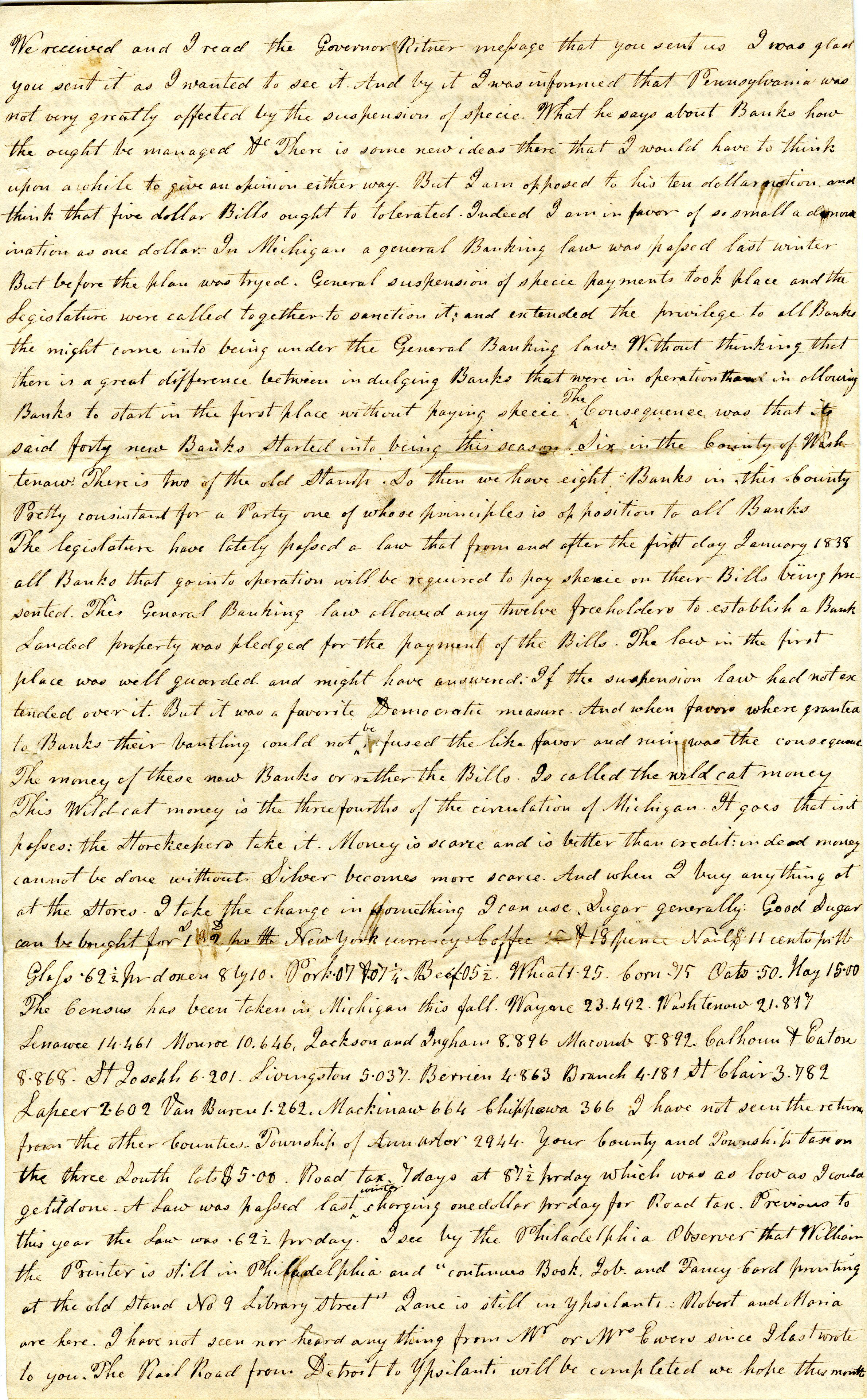 Letter From John Geddes to William Geddes, January 5, 1838 image