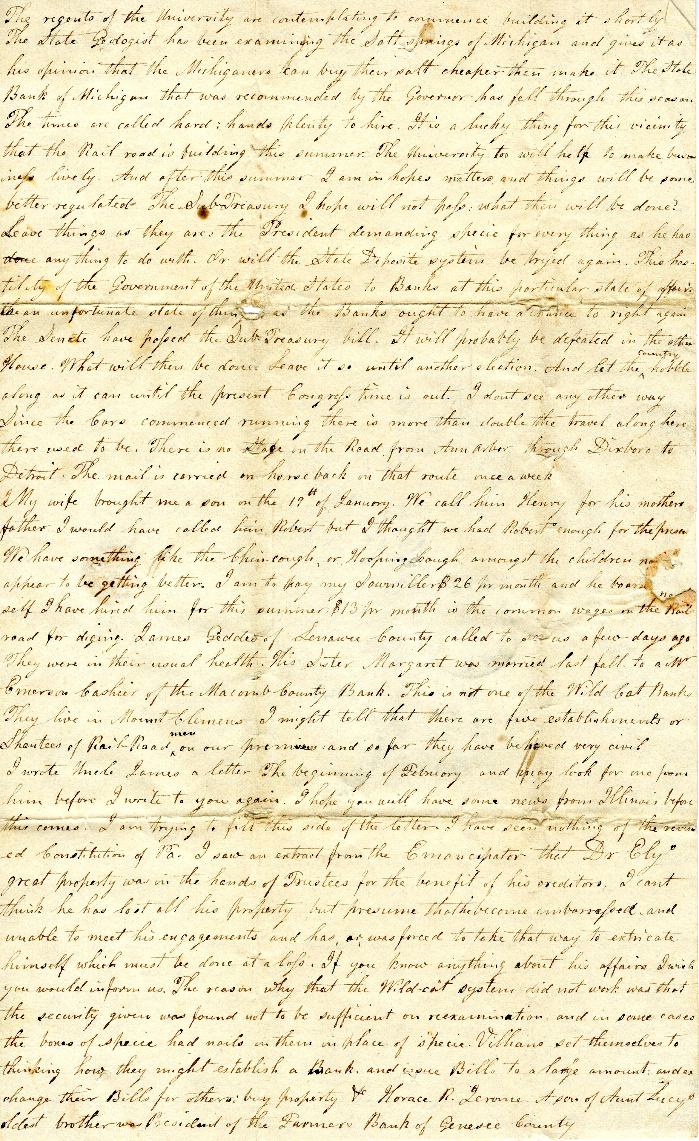 Letter From John Geddes to William Geddes, April 13, 1838 image