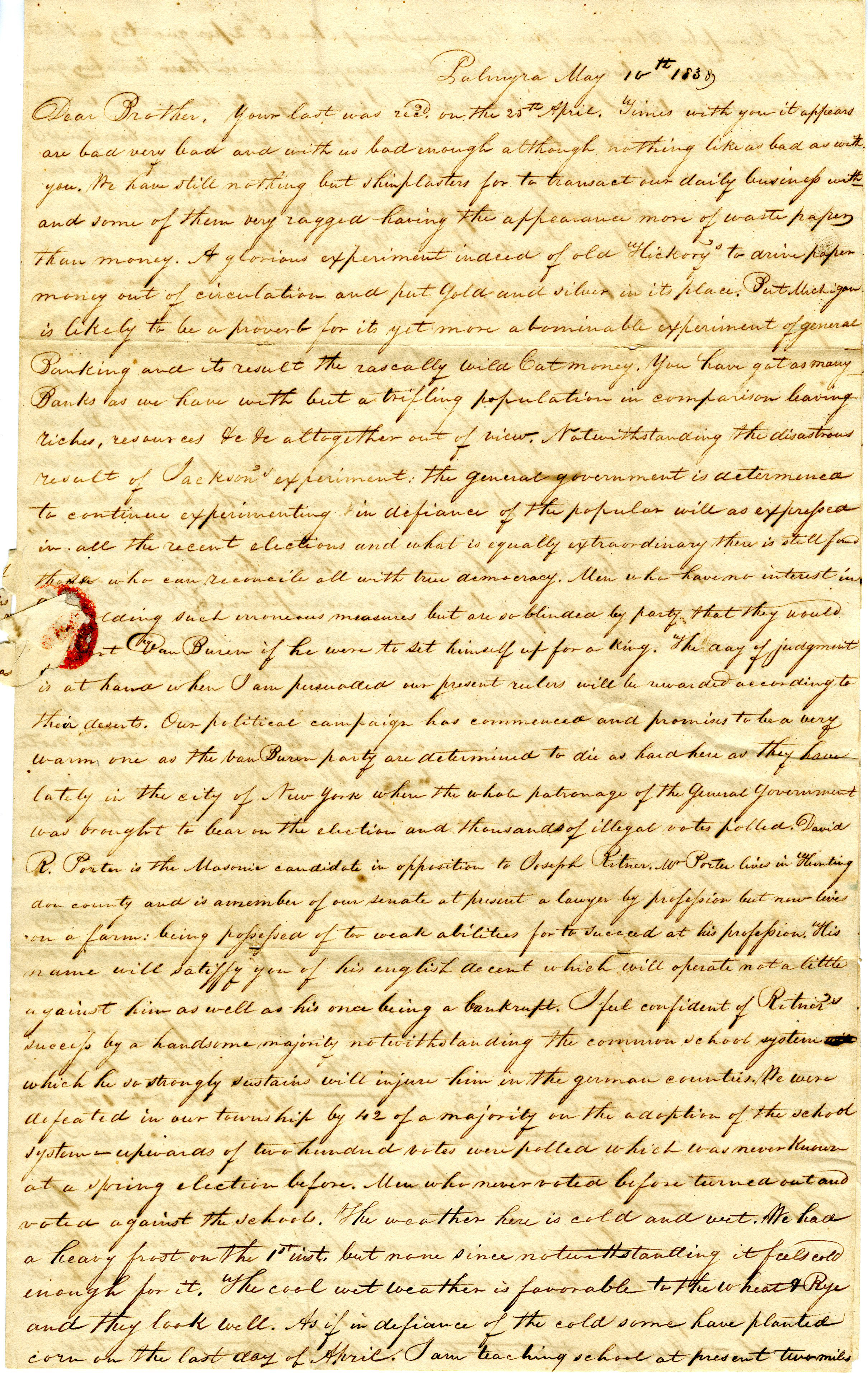 Letter From William Geddes to John Geddes, May 10, 1838 image