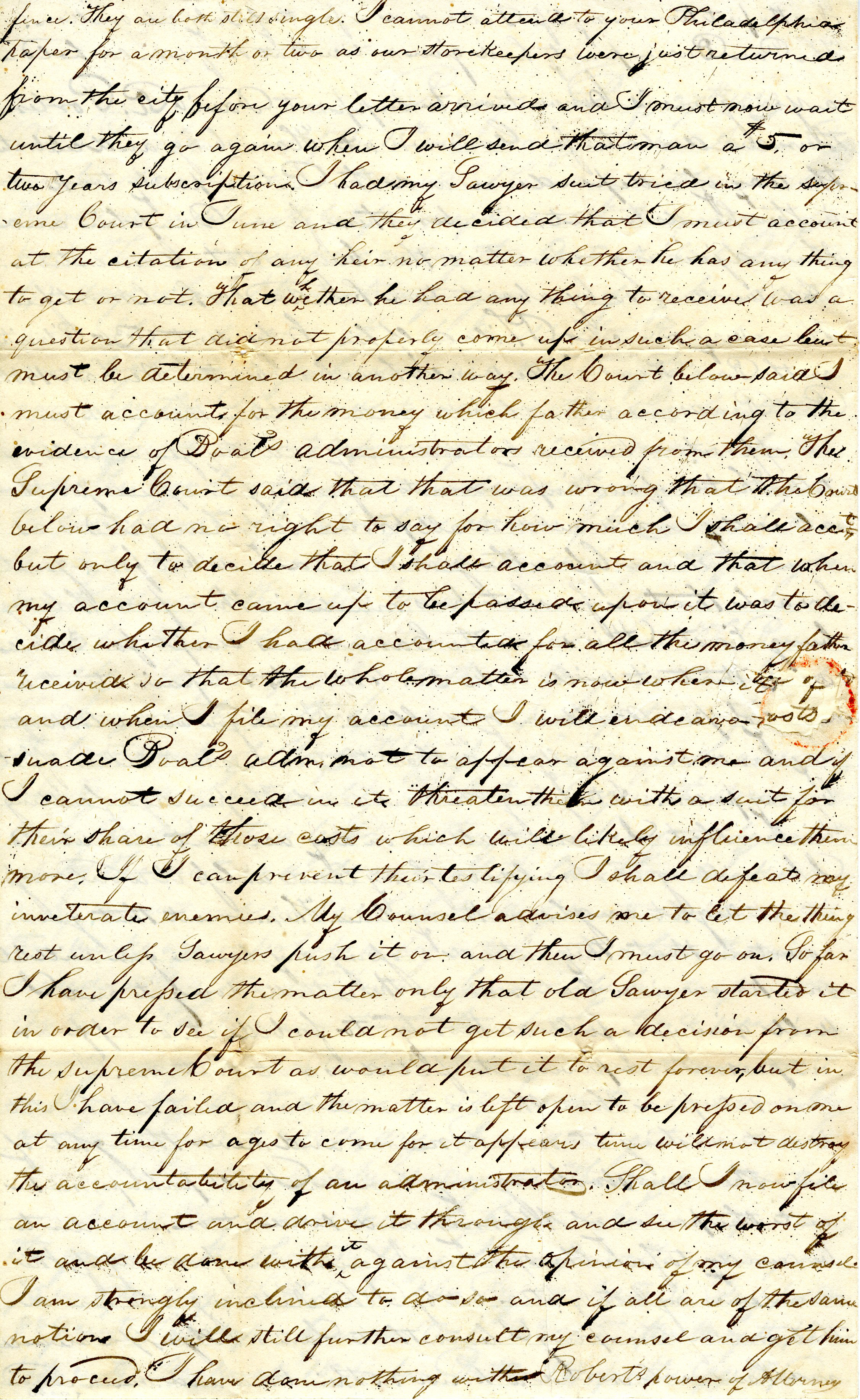 Letter From William Geddes to John Geddes, July 27, 1838 image