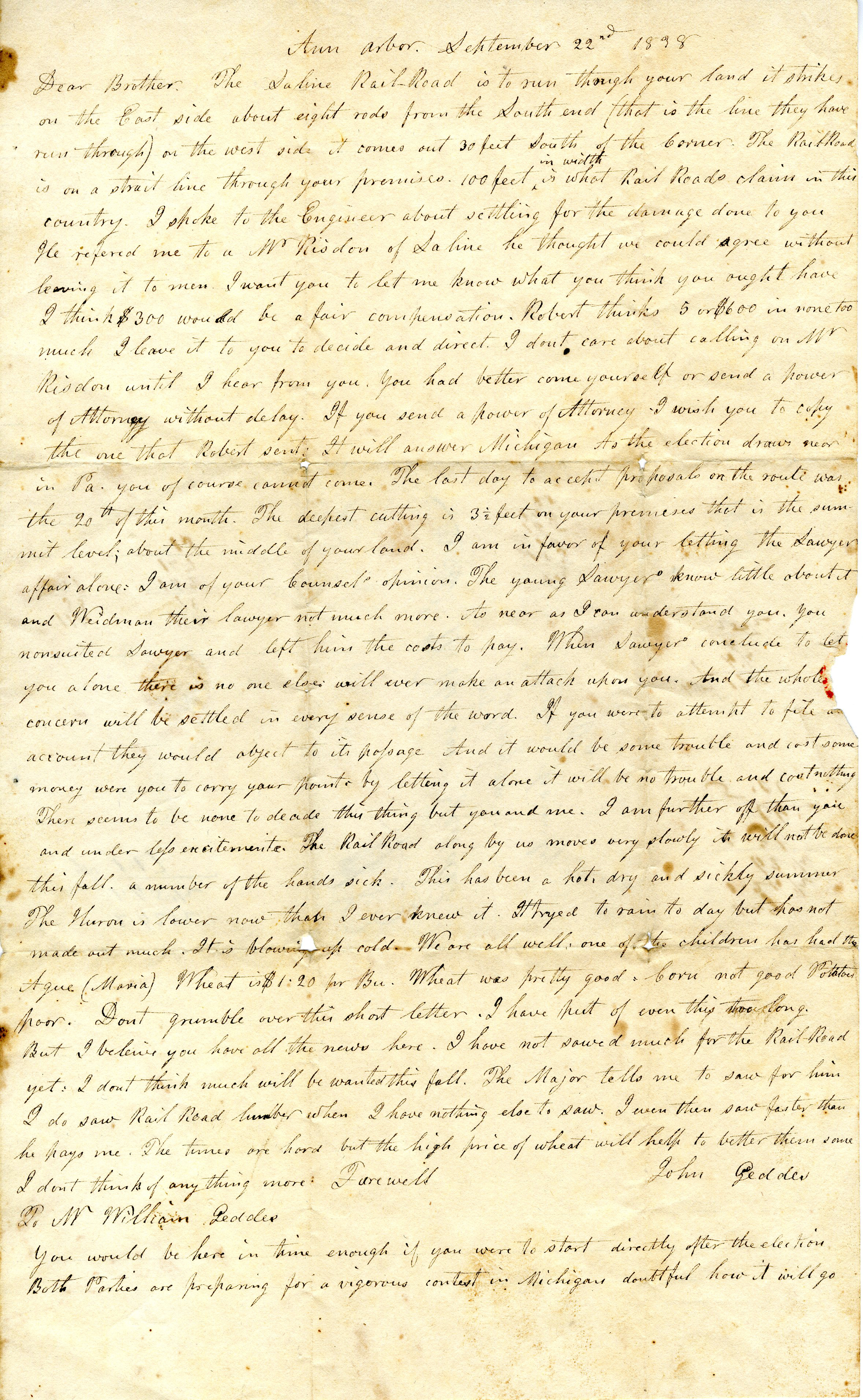 Letter From John Geddes to William Geddes, September 22, 1838 image