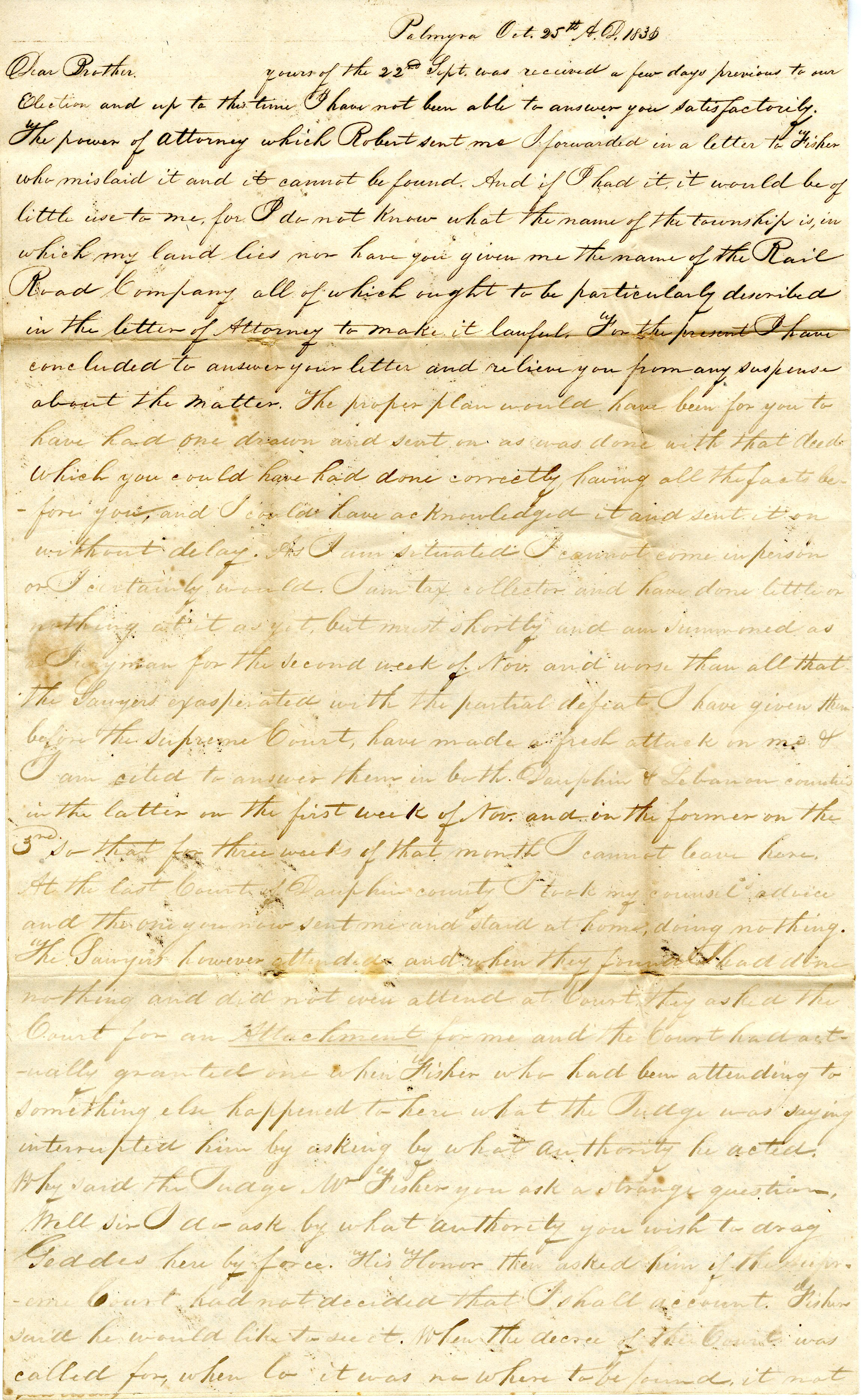 Letter From William Geddes to John Geddes, October 25, 1838 image