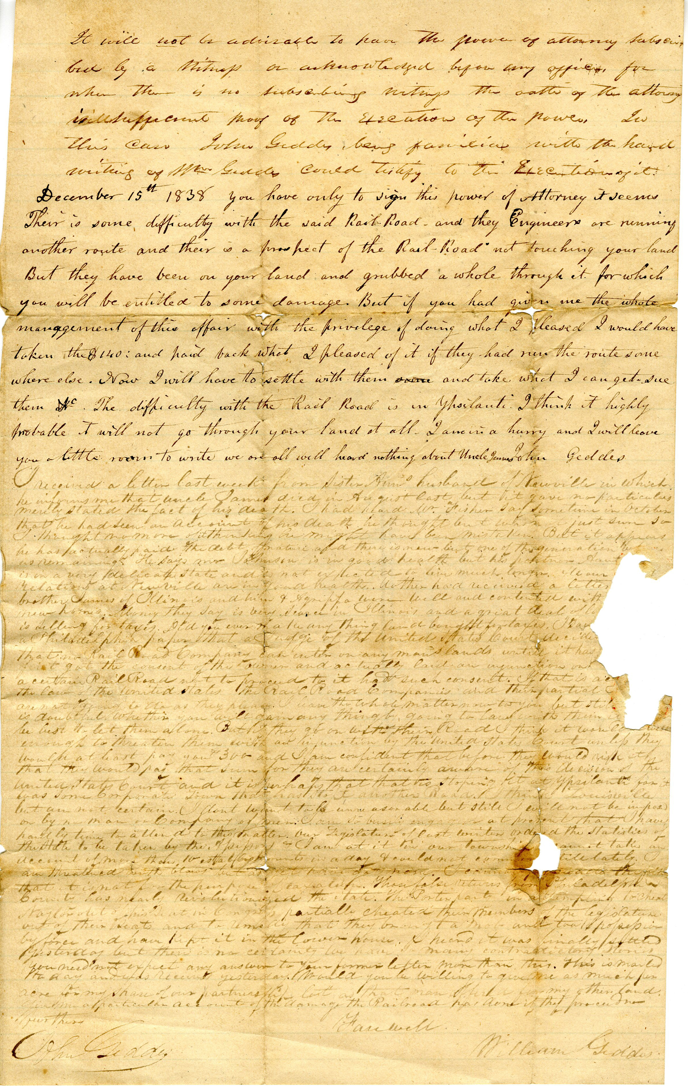 Letter From William Geddes to John Geddes, December 15, 1838 image
