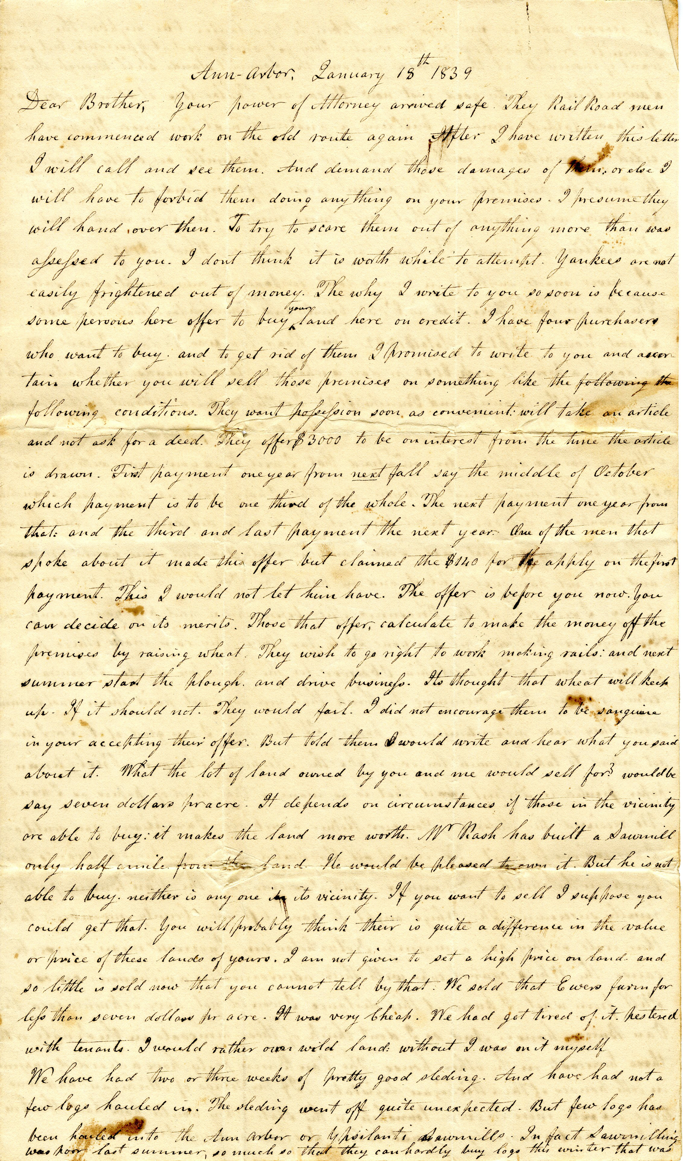 Letter From John Geddes to William Geddes, January 18, 1839 image