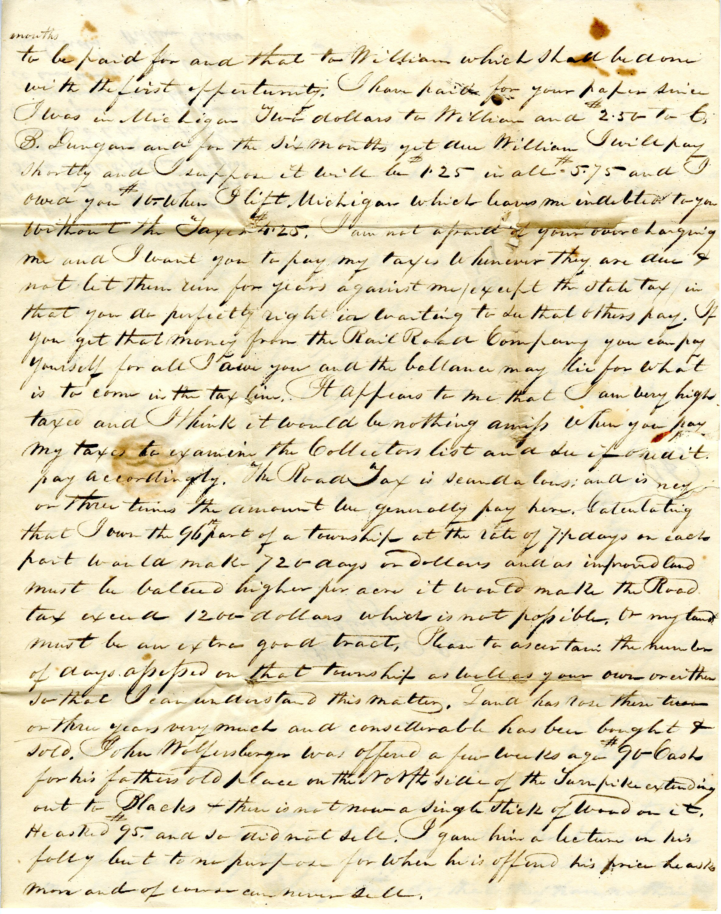 Letter From William Geddes to John Geddes, February 2, 1839 image