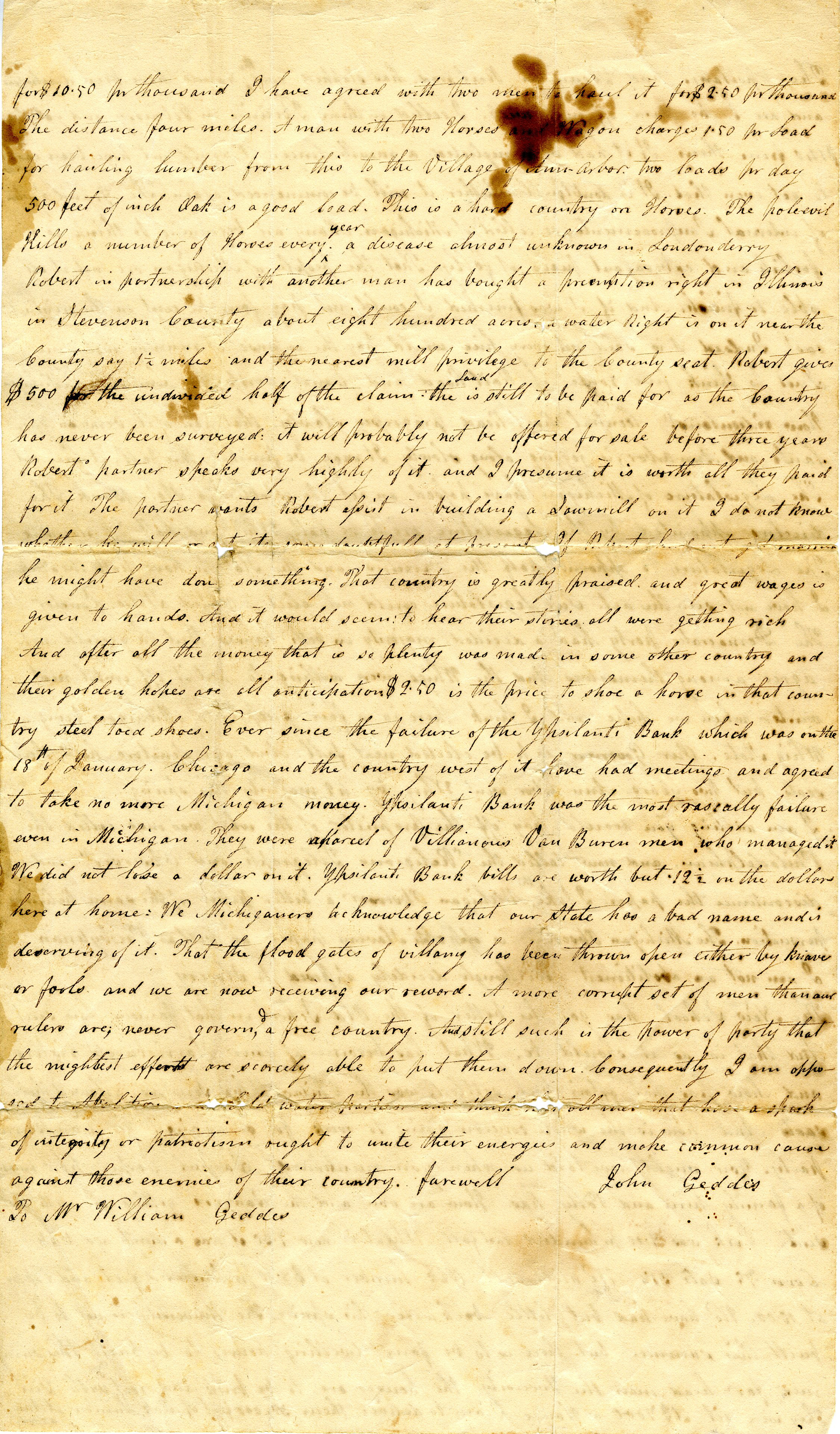 Letter From John Geddes to William Geddes, April 17, 1839 image