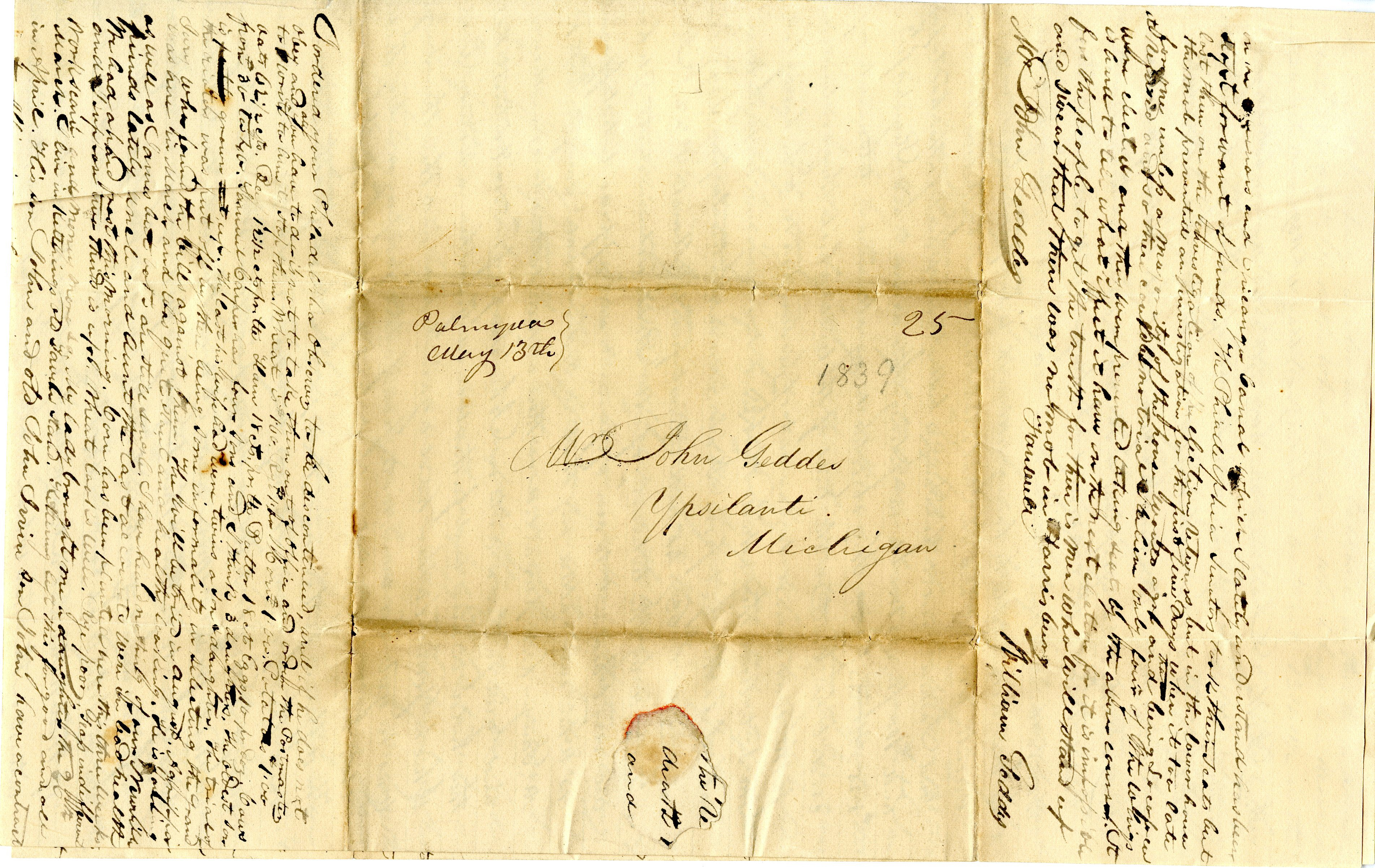 Letter From William Geddes to John Geddes, May 11, 1839 image