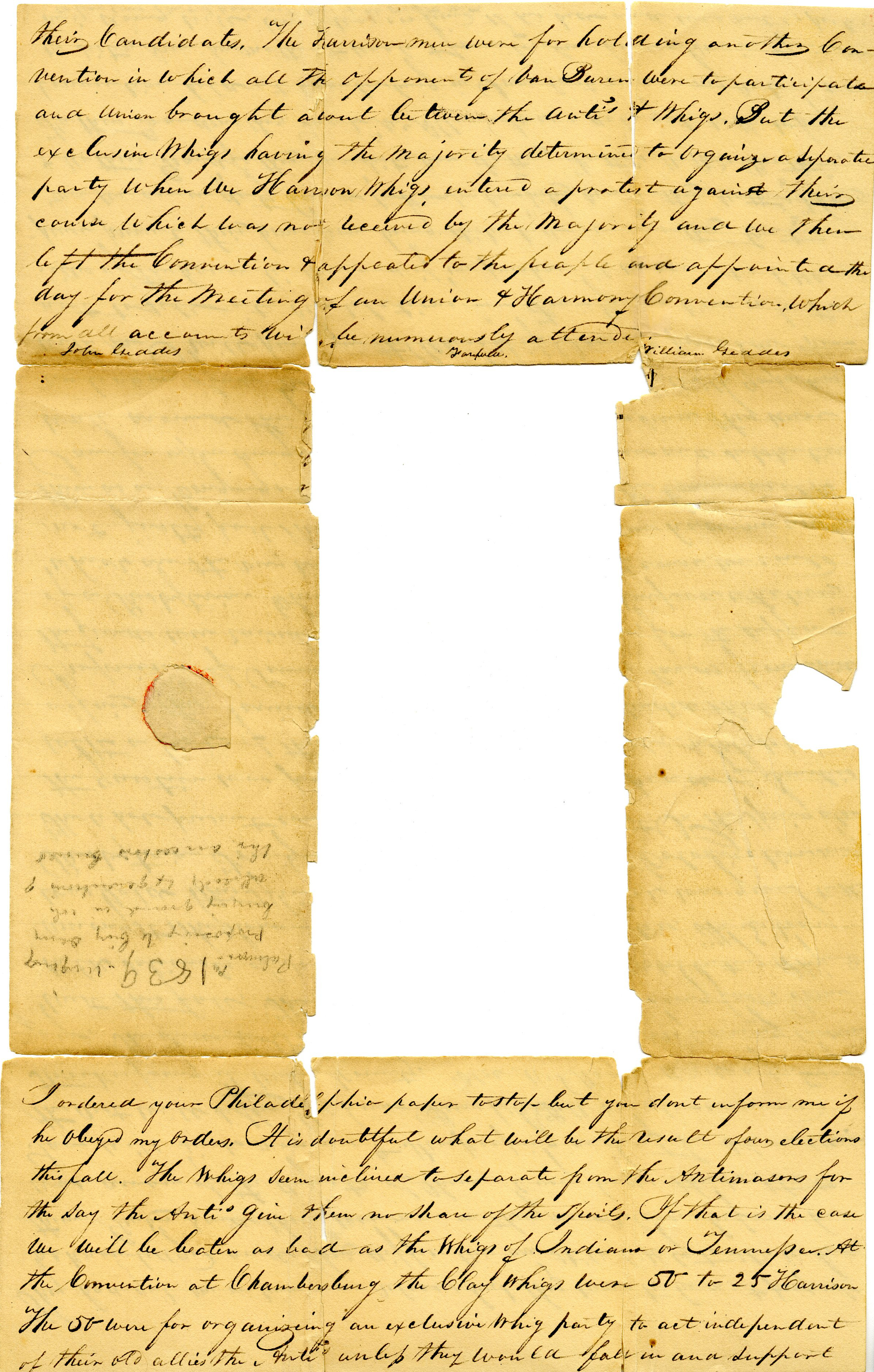 Letter From William Geddes to John Geddes, September 4, 1839 image