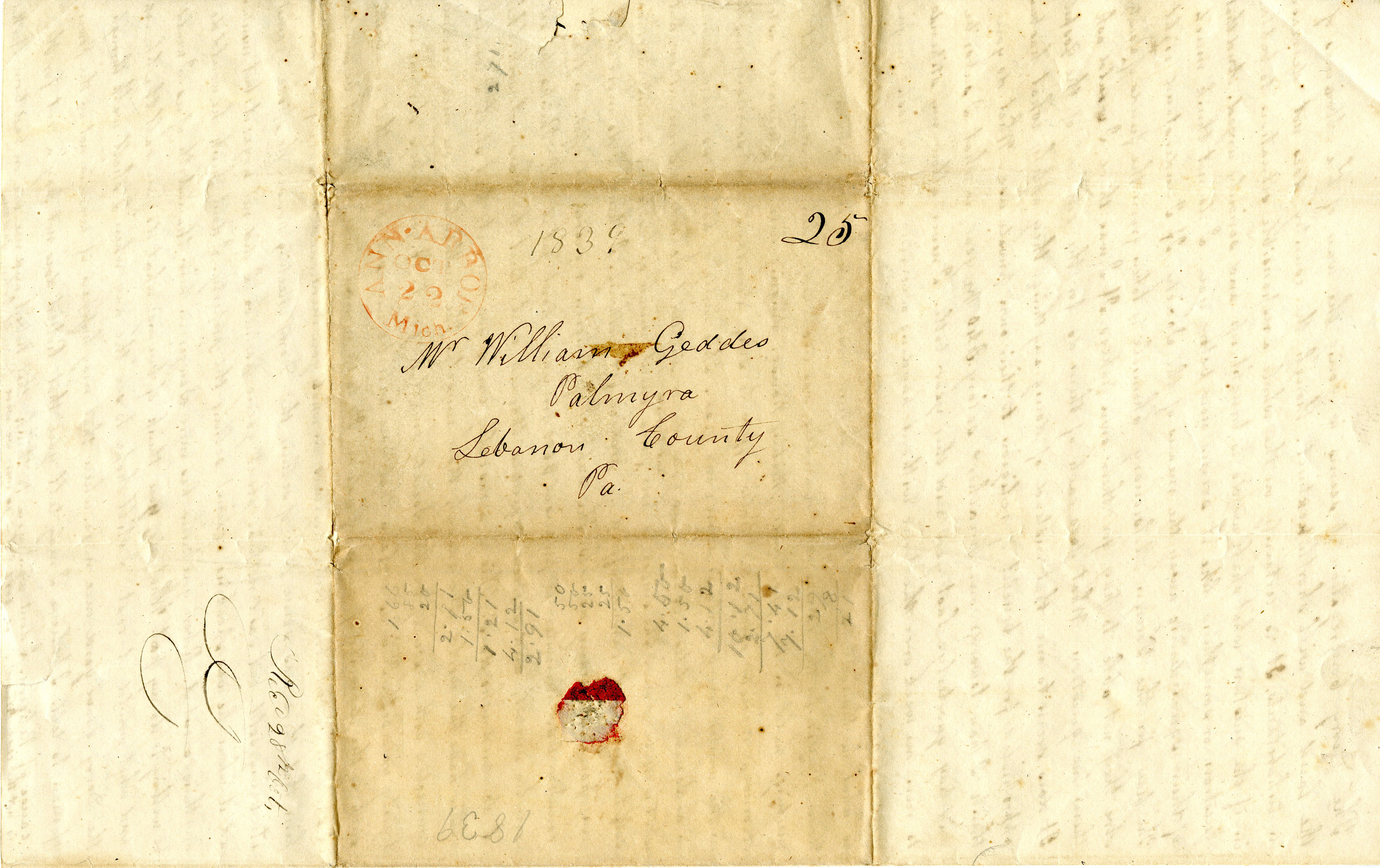 Letter From John Geddes to William Geddes, October 21, 1839 image