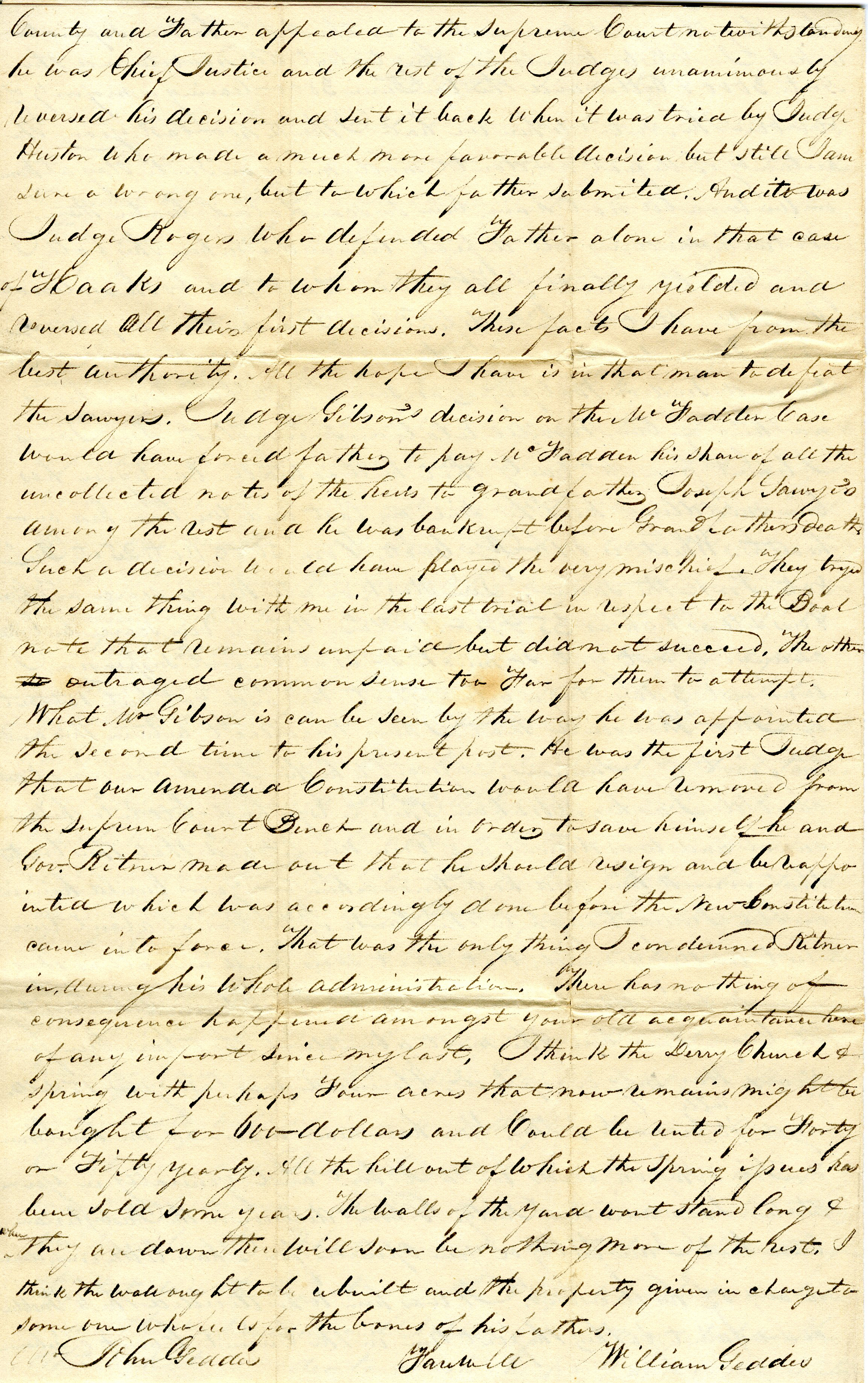 Letter From William Geddes to John Geddes, November 4, 1839 image
